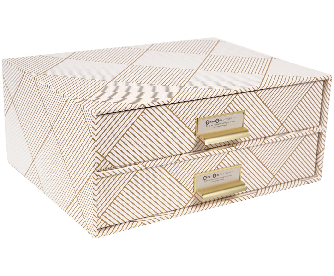 Organizer da ufficio Birger, Organizer: solido cartone laminato, Dorato , bianco, Larg. 33 x Alt. 15 cm