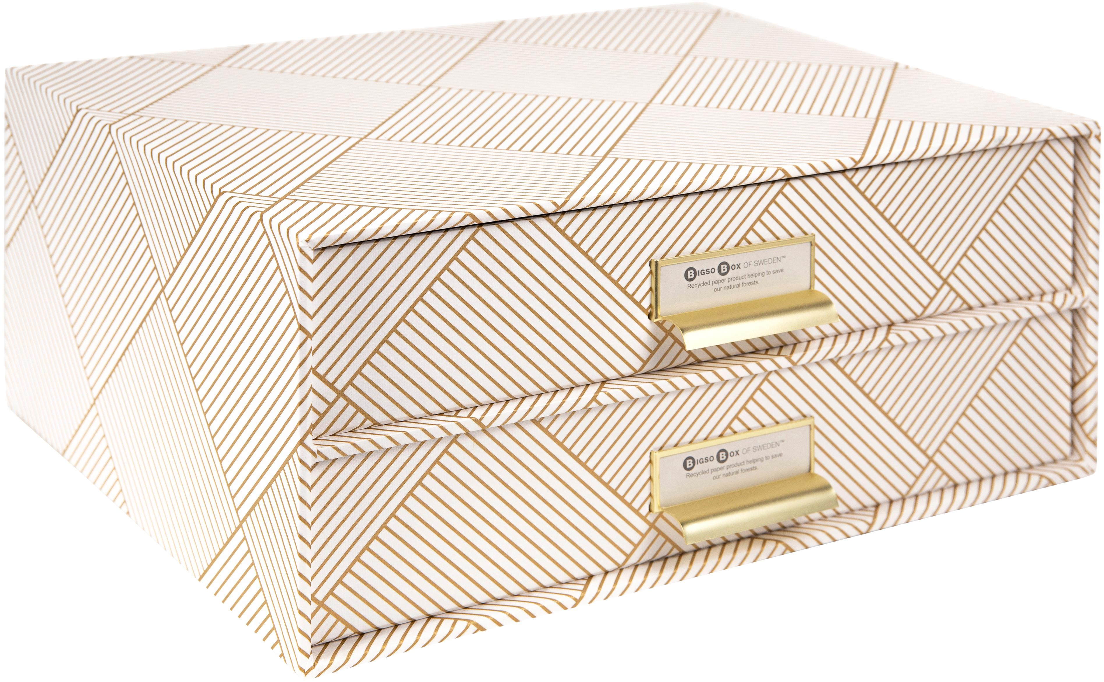 Büro-Organizer Birger, Organizer: Fester, laminierter Karto, Goldfarben, Weiß, 33 x 15 cm