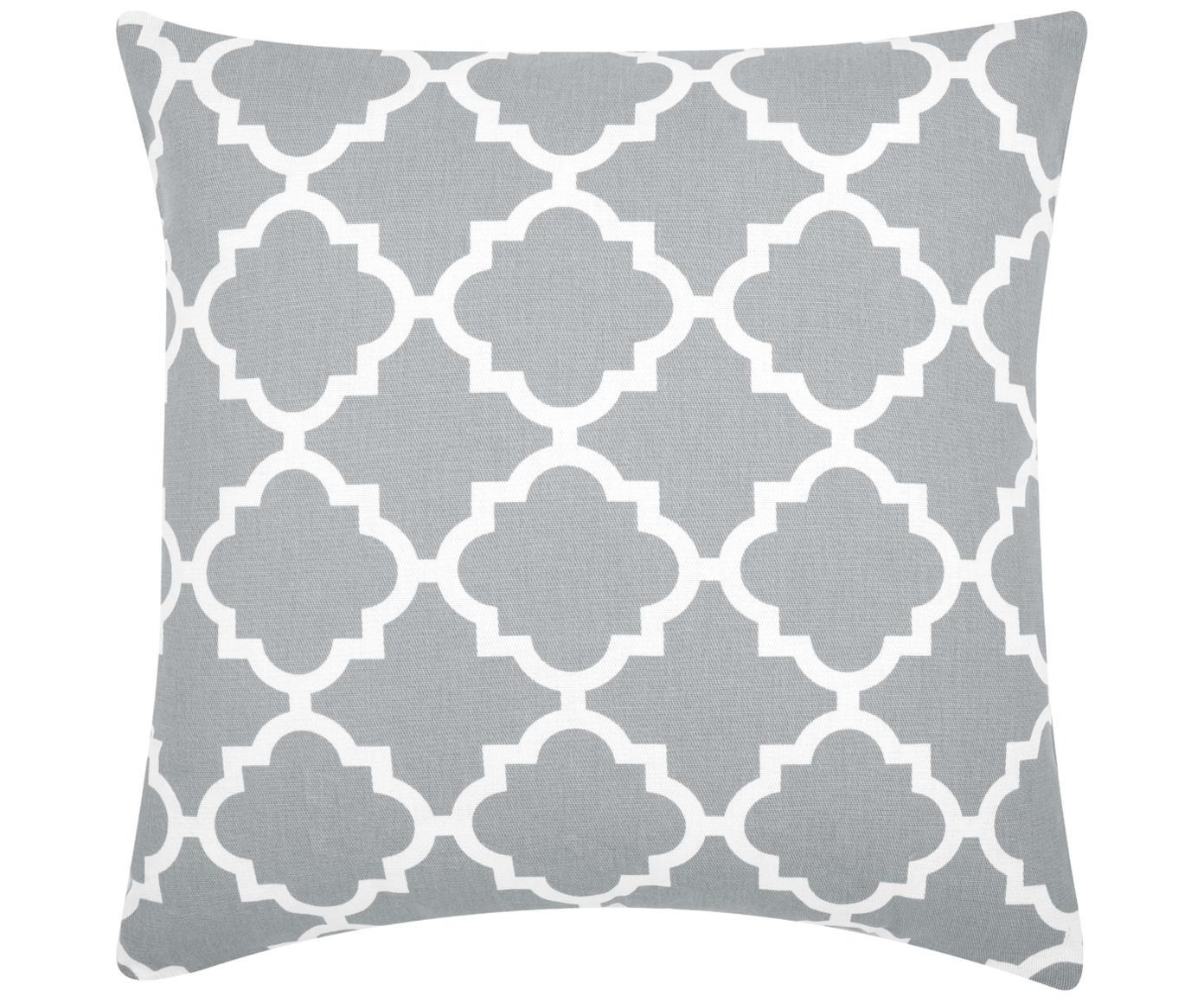 Kissenhülle Lana mit grafischem Muster, 100% Baumwolle, Grau, Weiß, 45 x 45 cm