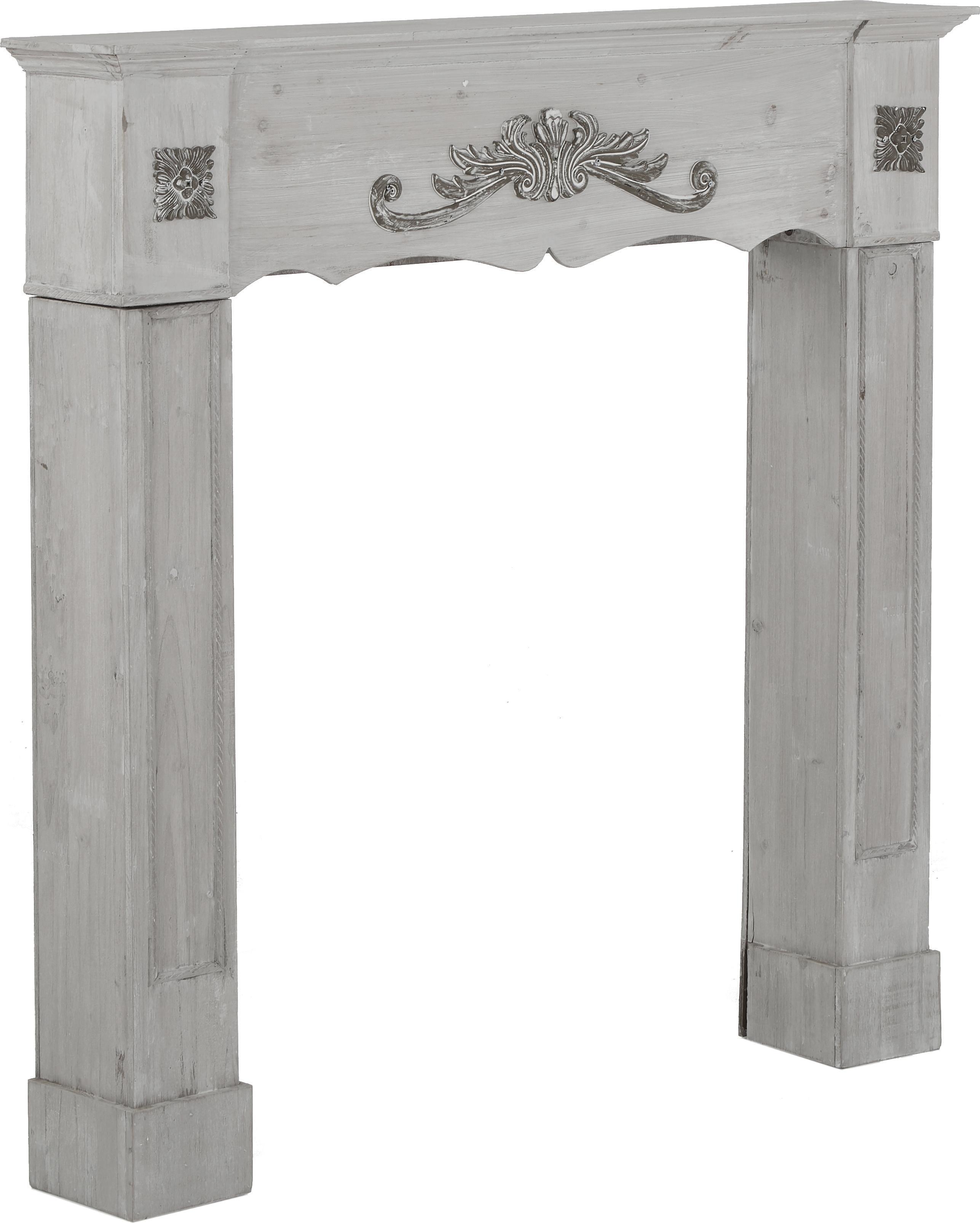 Consolle per caminetto country Menton, Pannello di fibra a media densità e legno di paulownia, verniciato, Grigio, Larg. 105 x Prof. 18 cm