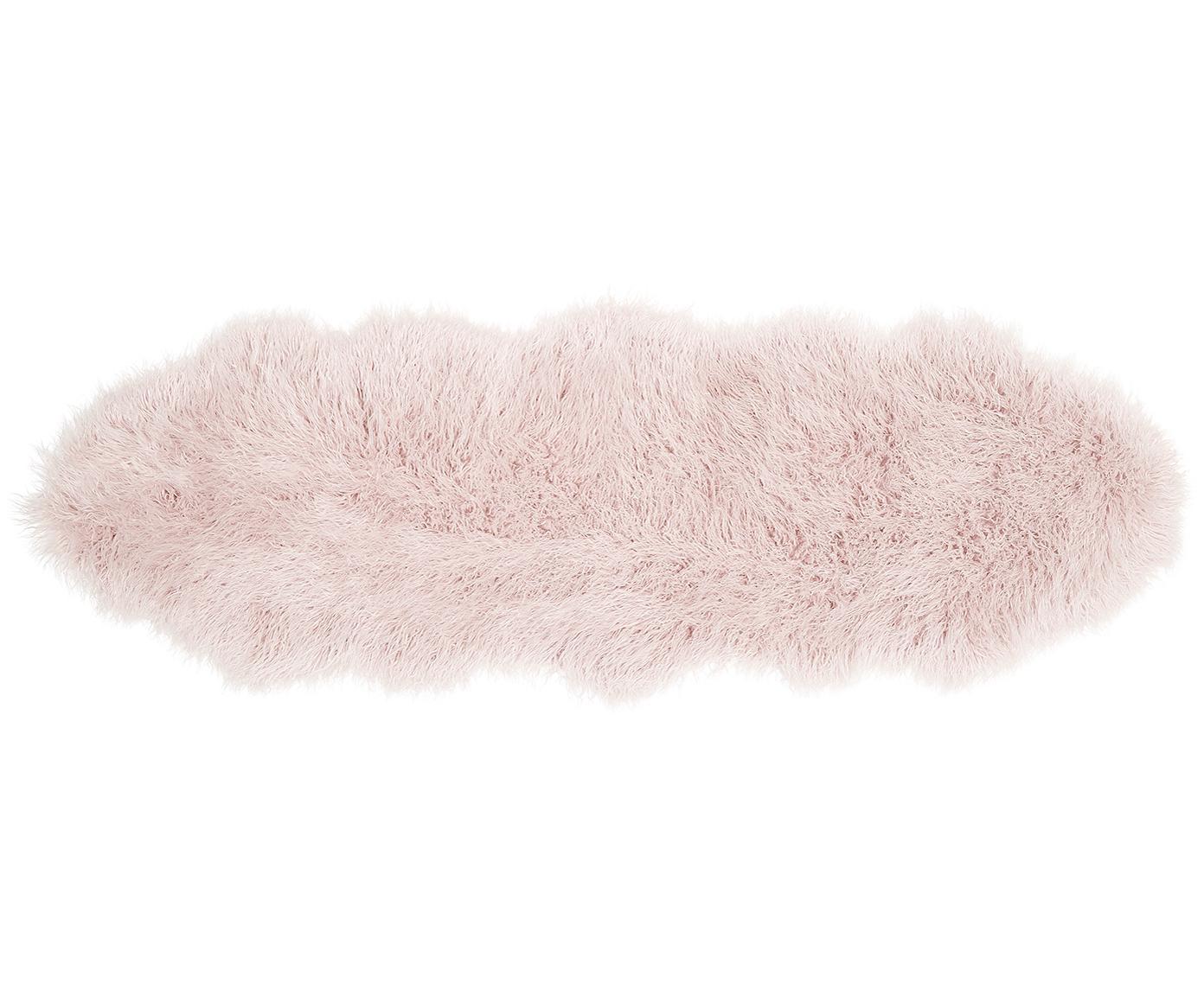 Kunstfell-Teppich Morten, gelockt, Vorderseite: 67% Acryl, 33% Polyester, Rückseite: Polyester, Rosa, 60 x 180 cm