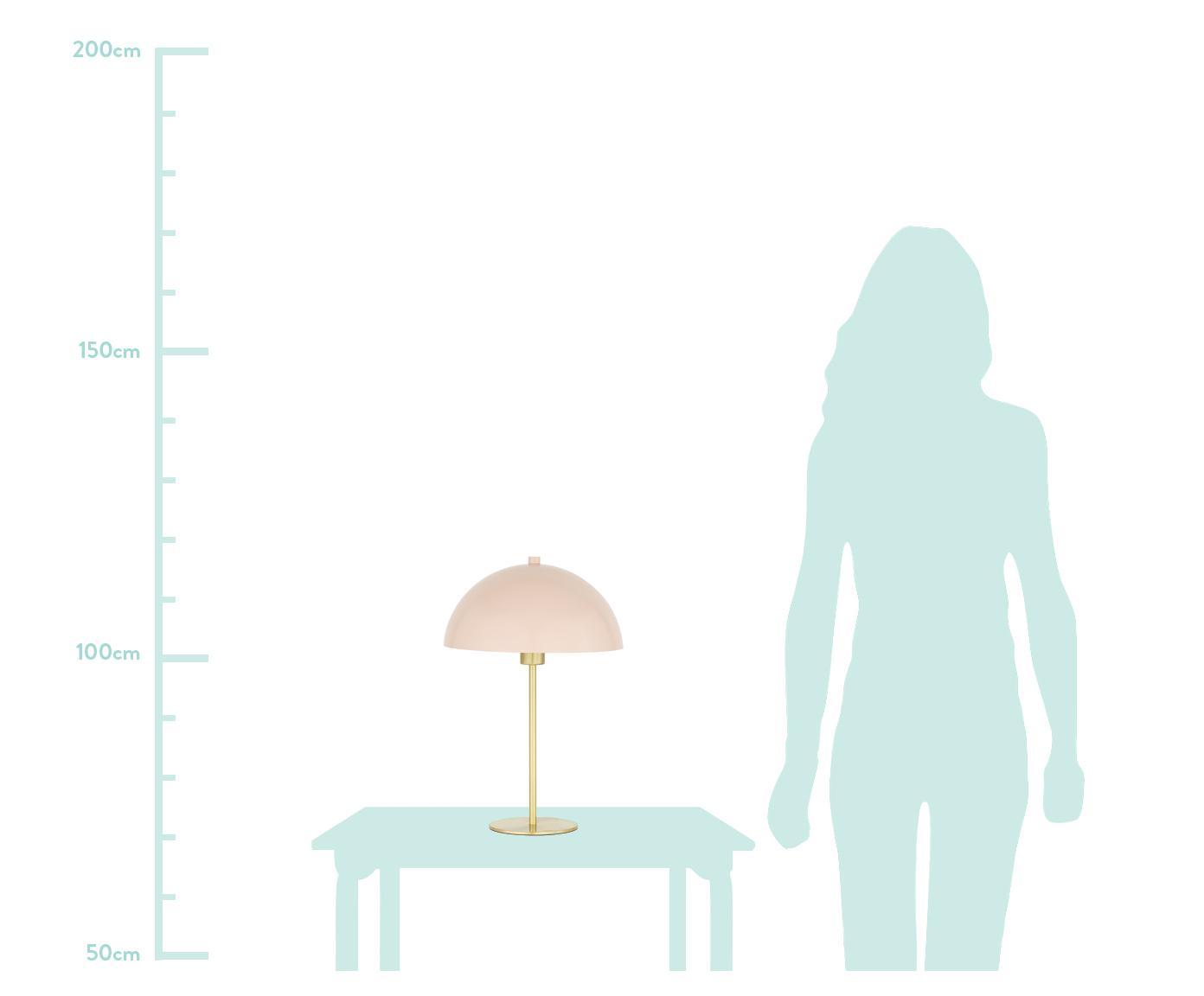 Tischlampe Matilda aus Metall, Lampenschirm: Metall, pulverbeschichtet, Lampenfuß: Metall, vermessingt, Hellrosa, Messingfarben, Ø 29 x H 45 cm
