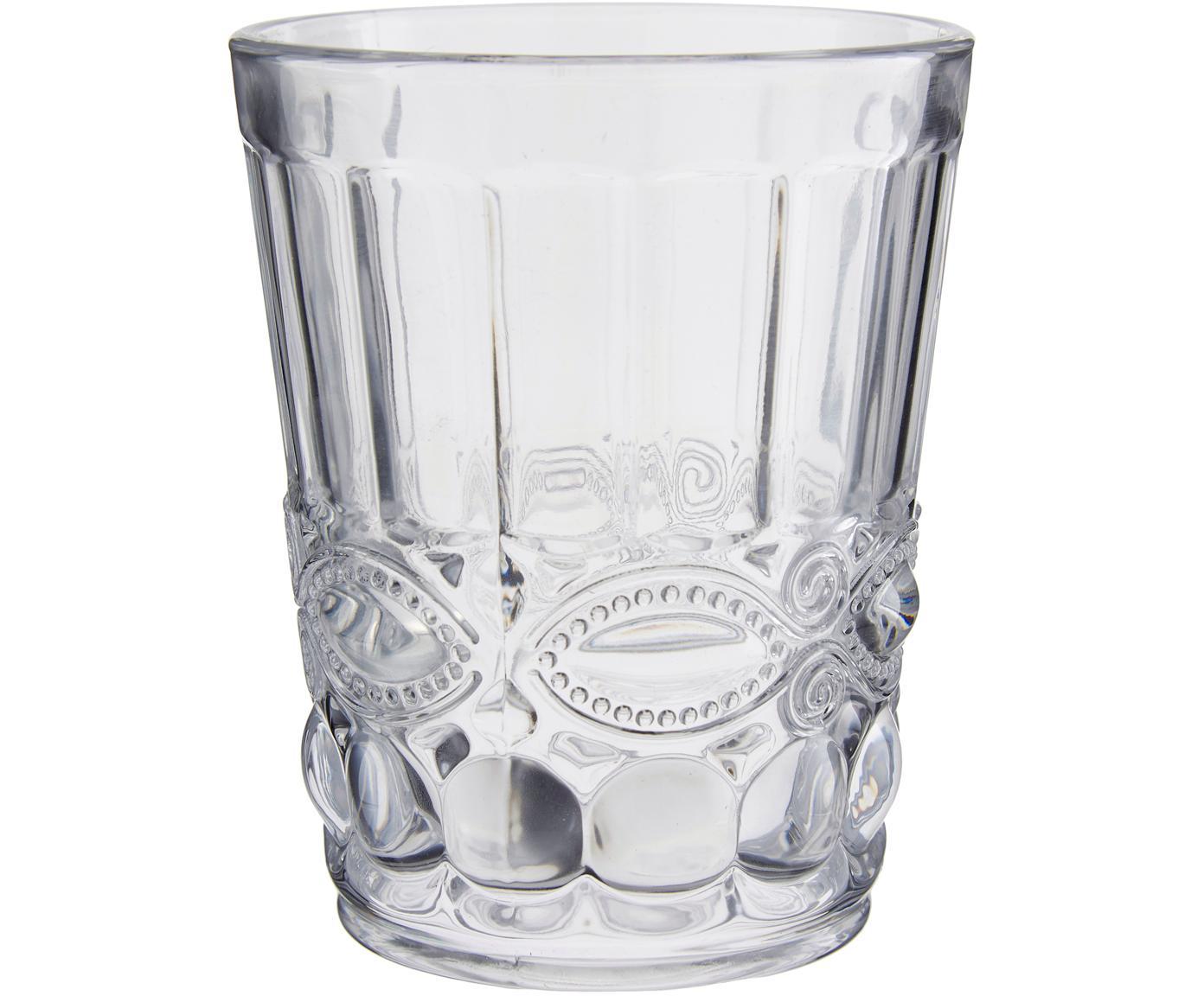 Vasos con relieve Nobilis, 6uds., Vidrio, Transparente, Ø 9 x Al 11 cm