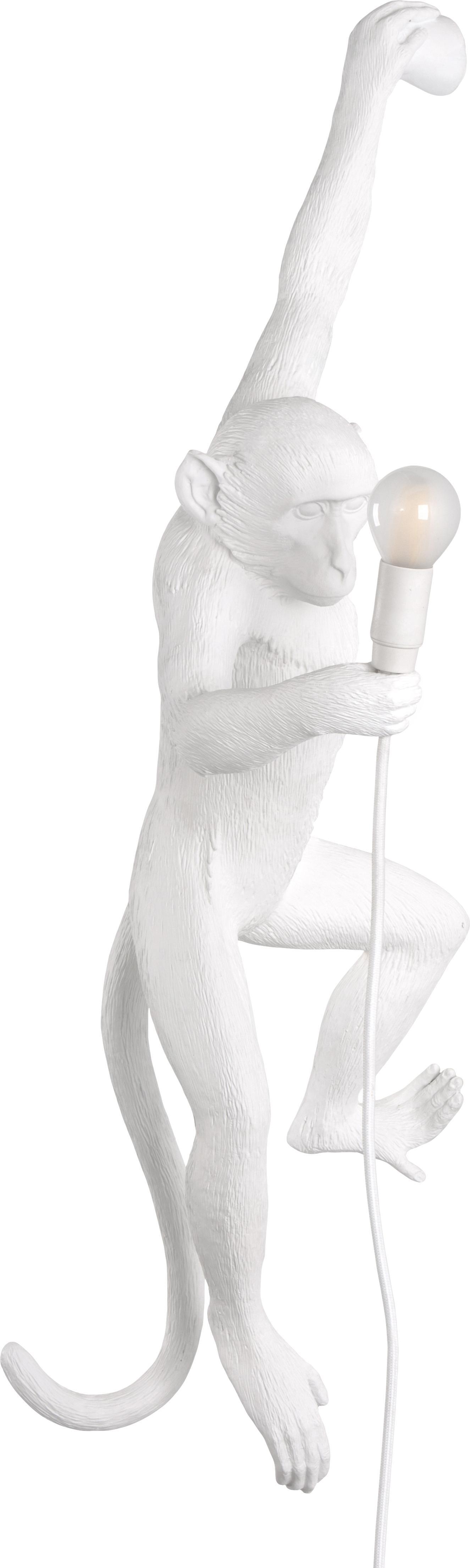 Aplique Monkey con enchufe, Resina, Blanco, An 77 x Al 37 cm