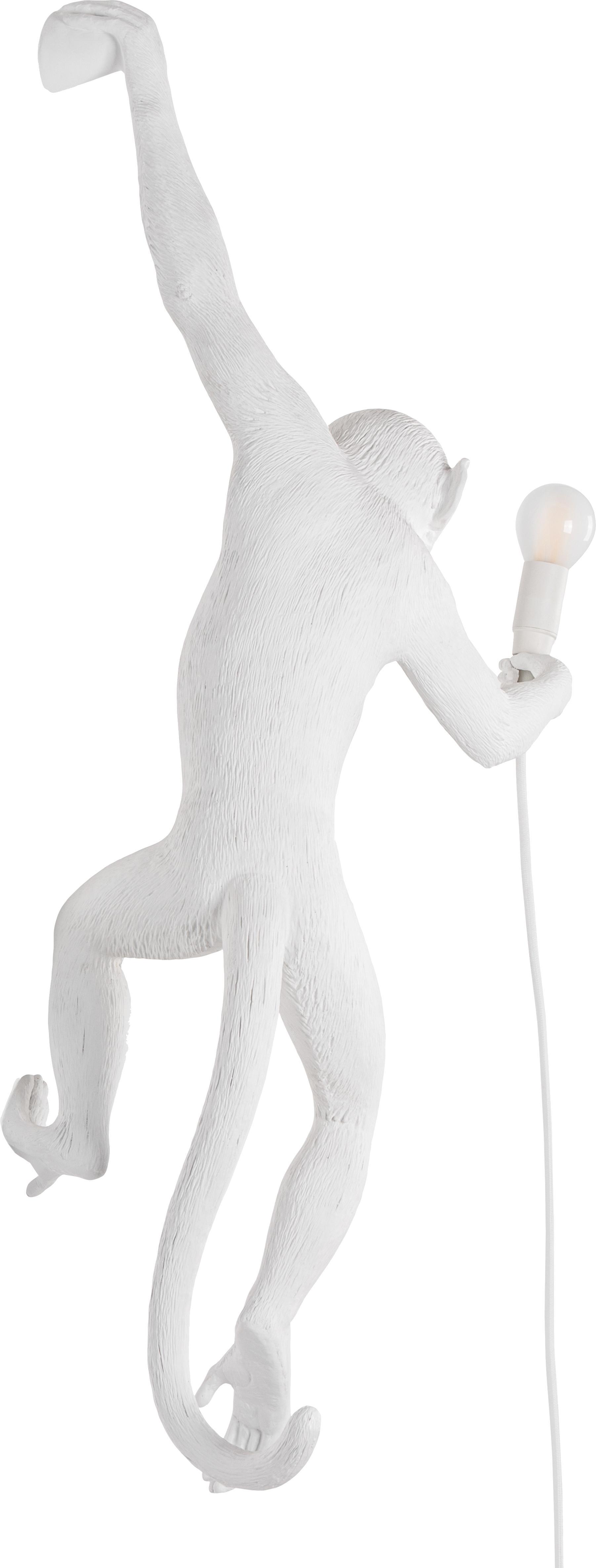 Applique a LED con spina Monkey, Resina, Bianco, Larg. 77 x Alt. 37 cm