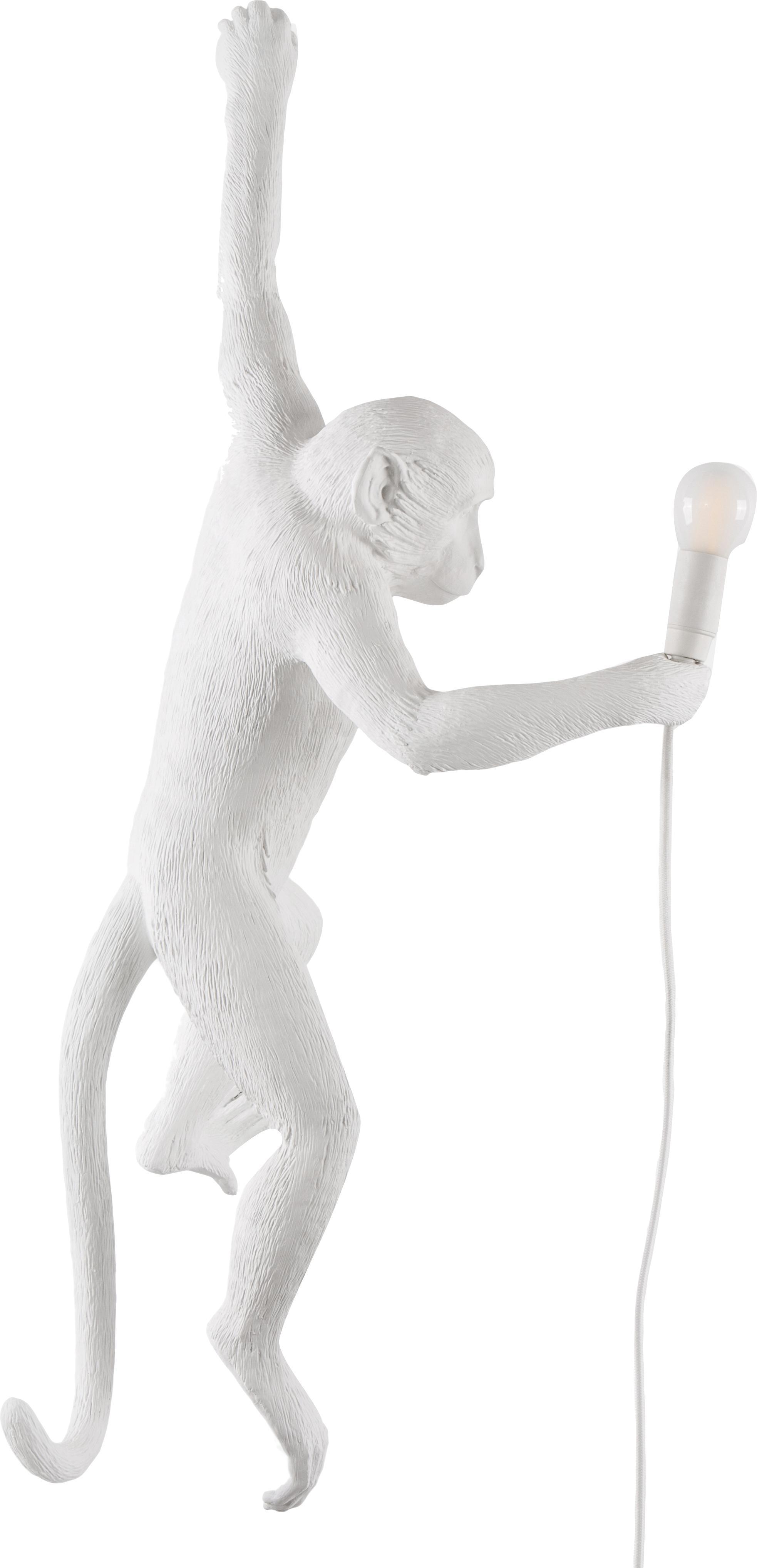 Wandleuchte Monkey mit Stecker, Kunstharz, Weiß, 77 x 37 cm