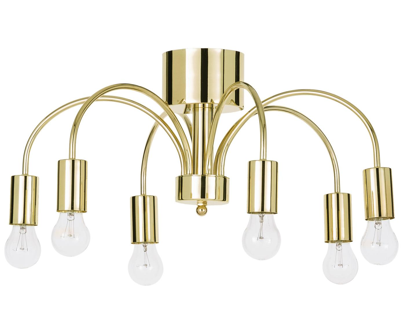 Plafondlamp Grace, Gelakt messing, Goudkleurig, Ø 56 x H 26 cm