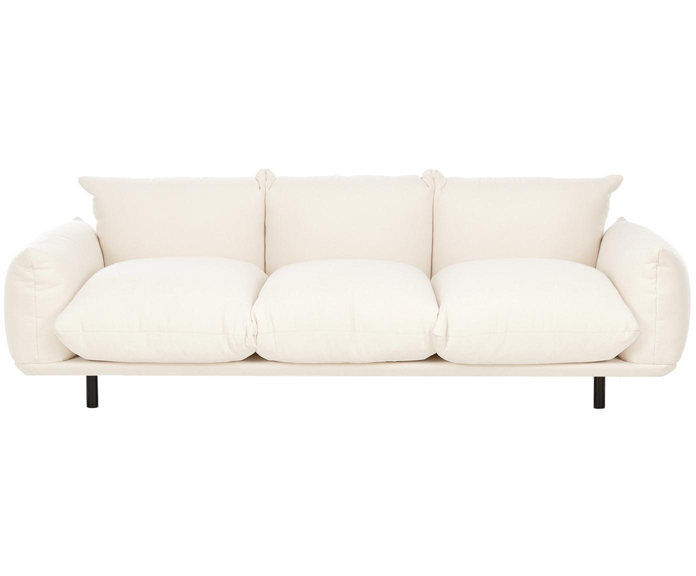 Bank Saga (4-zits), Bekleding: 100% polyester, Frame: massief berkenhout, Poten: gepoedercoat metaal, Beige, B 232 x D 103 cm