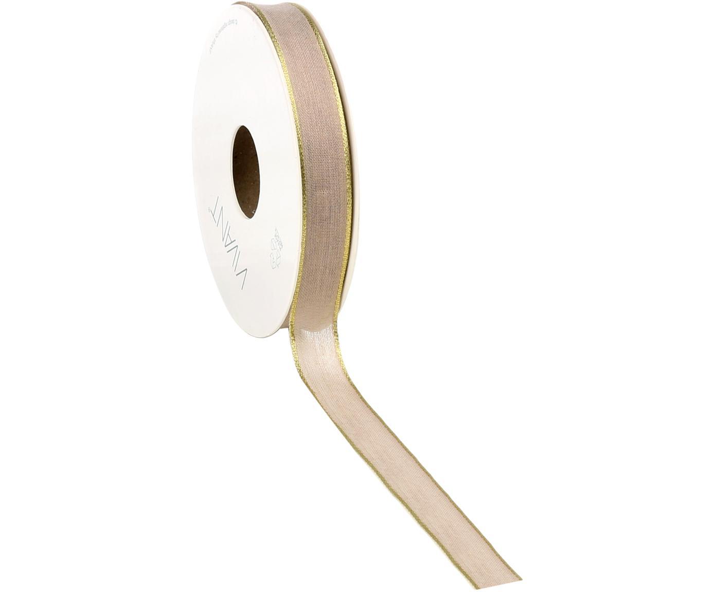 Cadeaulint Batiste, 55% rayon, 45% polyester, Taupe, goudkleurig, 3 x 1500 cm