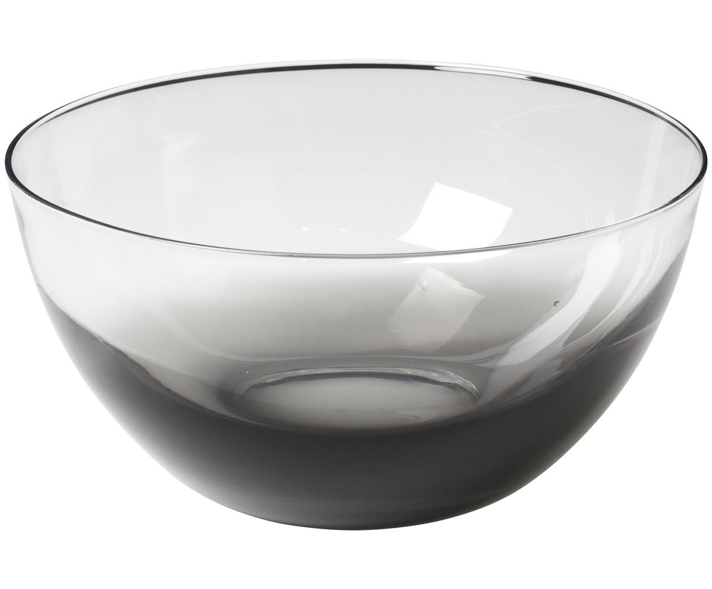 Miska ze szkła dmuchanego, Szkło, Ciemny szary, transparentny, Ø 25 x W 12 cm