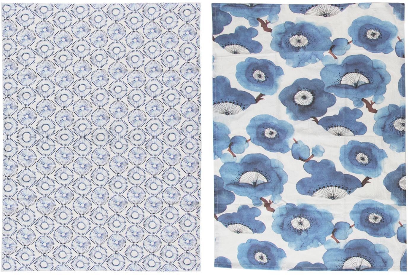 Geschirrtücher-Set Dandelion, 2-tlg., Baumwolle, Weiss, Blau, 50 x 70 cm
