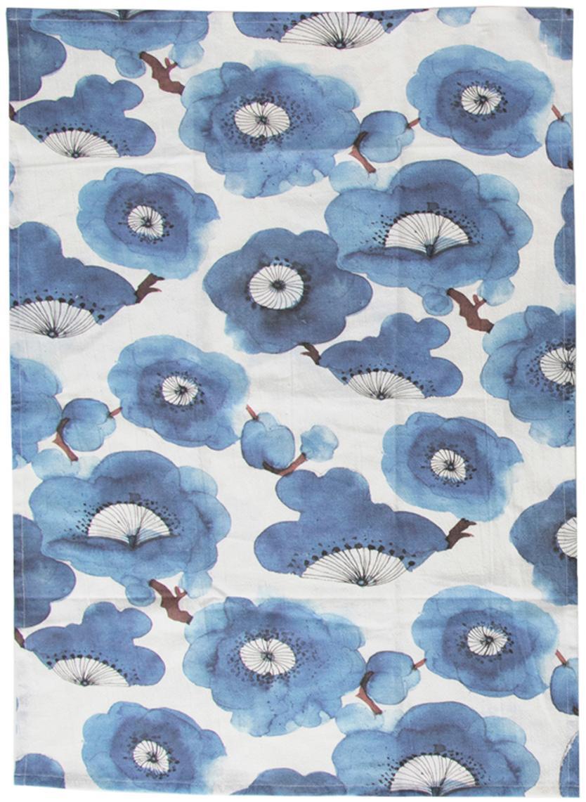 Geschirrtücher-Set Dandelion, 2-tlg., Baumwolle, Weiß, Blau, 50 x 70 cm