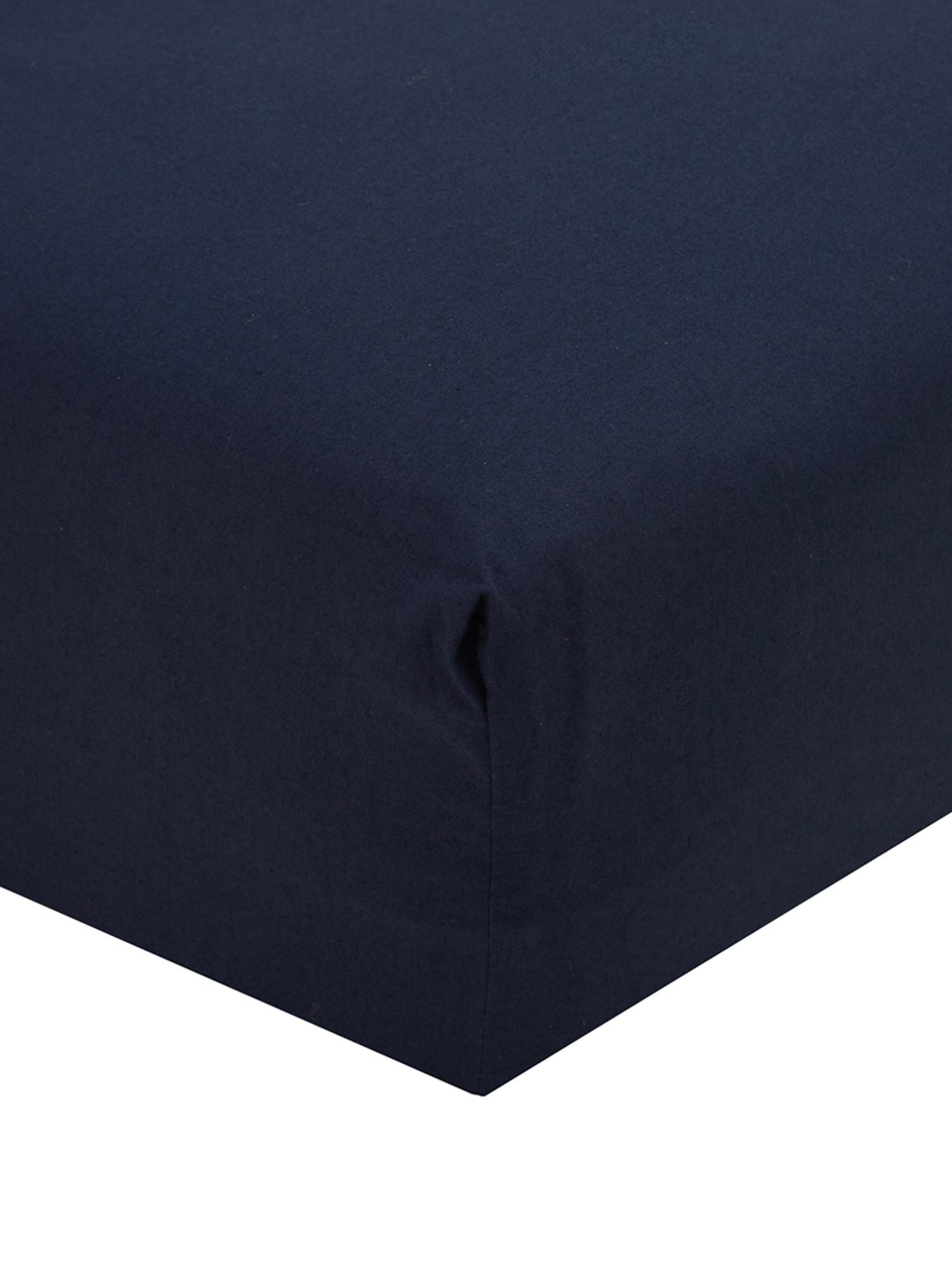 Sábana bajera de percal Elsie, Azul oscuro, Cama 90 cm (90 x 200 cm)