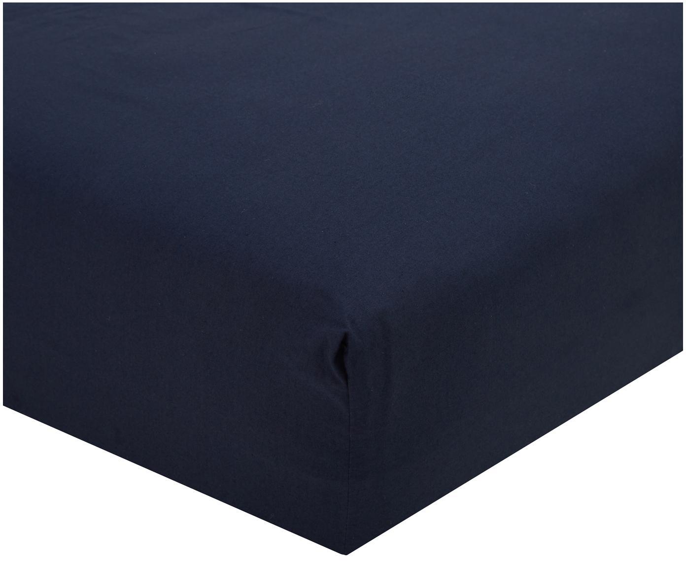 Lenzuolo con angoli in percalle Elsie, Tessuto: percalle, Blu scuro, 90 x 200 cm