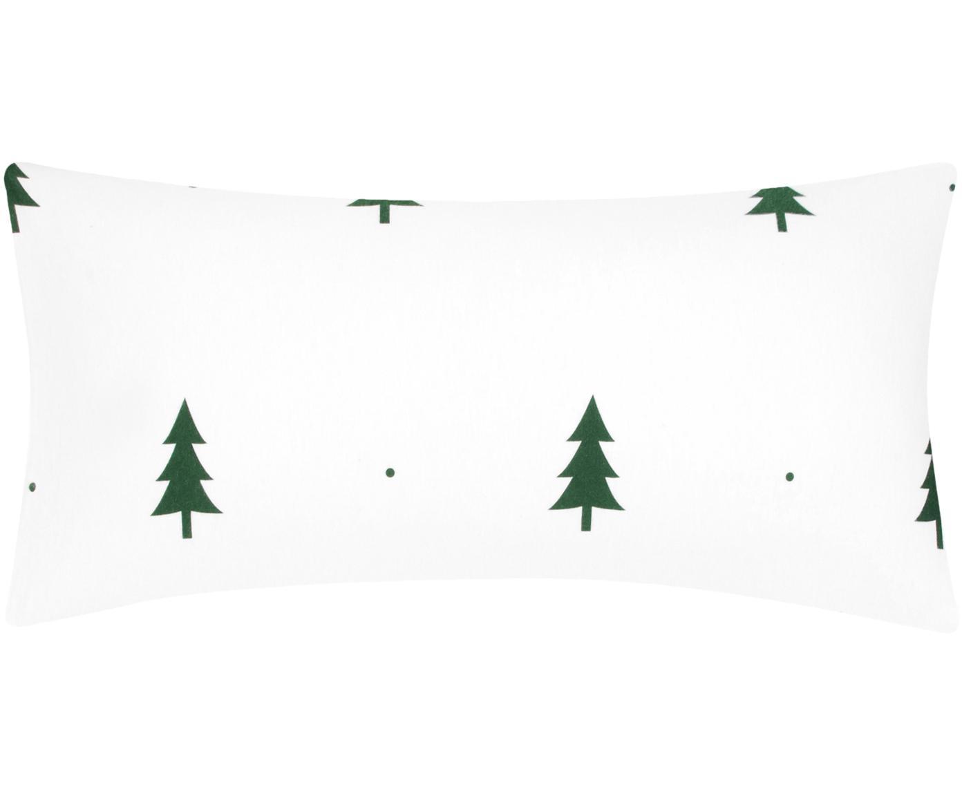 Flanell-Kissenbezüge X-mas Tree mit Tannenbäumen, 2 Stück, Webart: Flanell Flanell ist ein s, Weiss, Grün, 40 x 80 cm