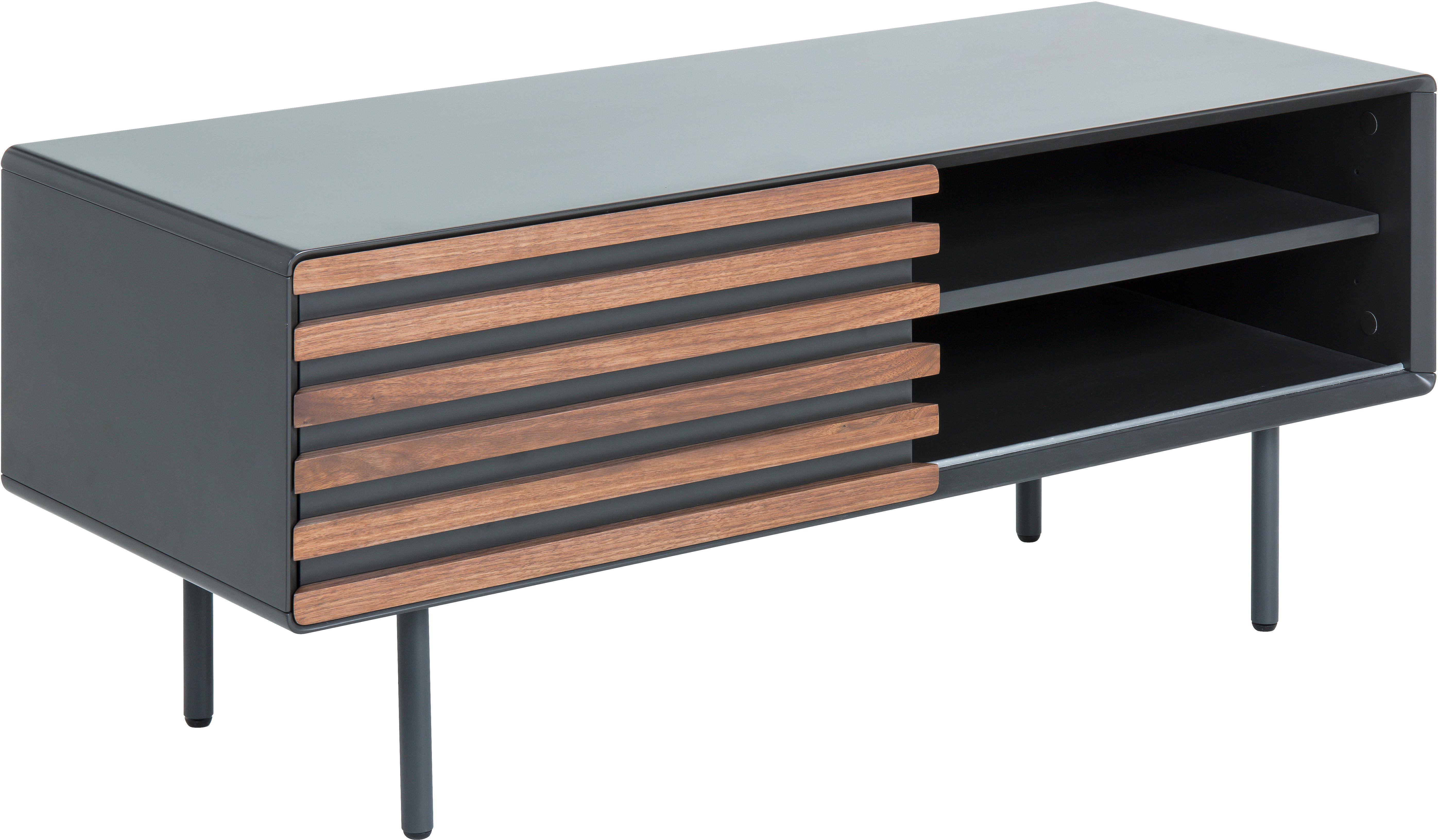 Szafka RTV Kesia, Grafitowy, drewno orzecha włoskiego, S 120 x W 49 cm