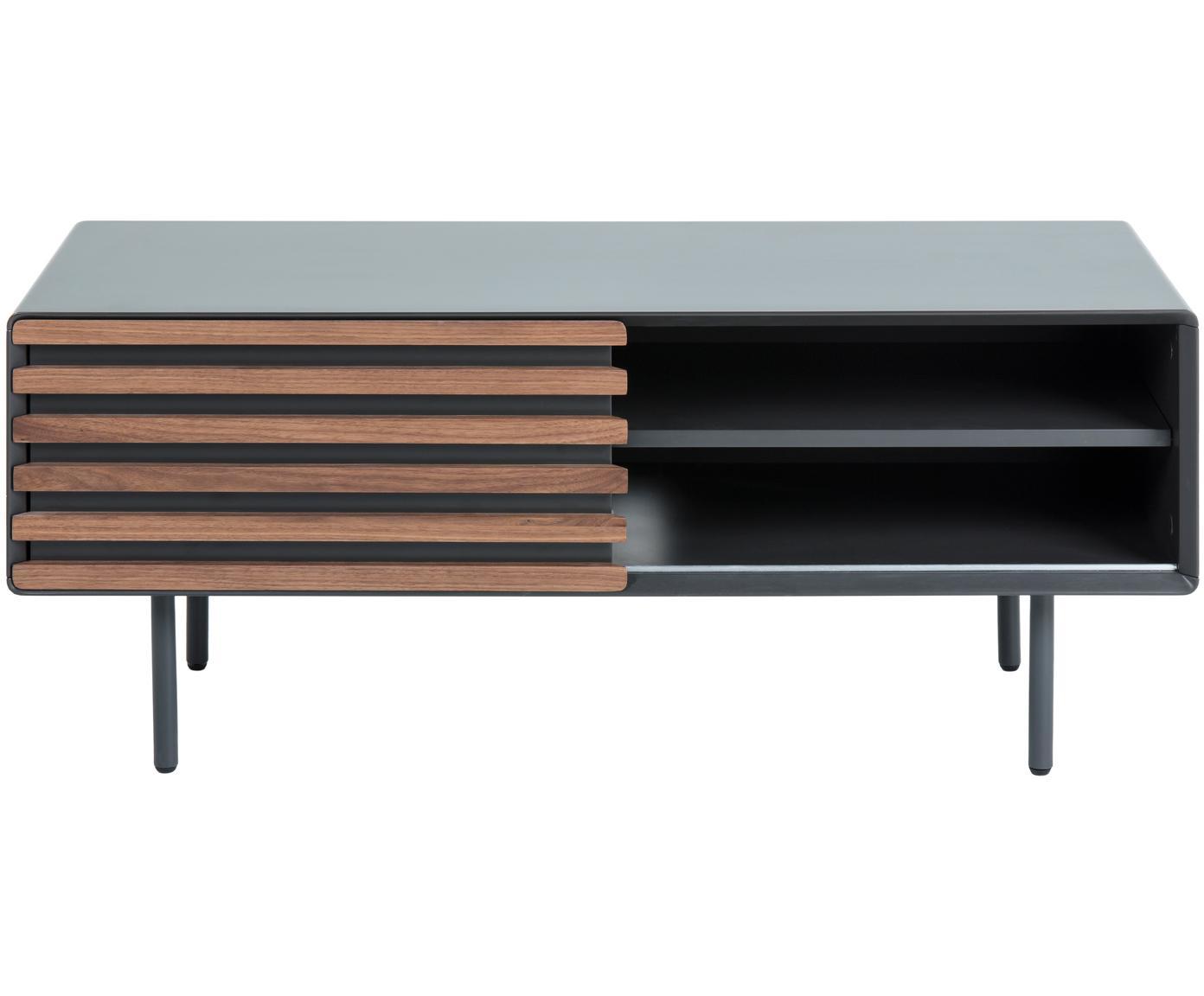 Tv-meubel Kesia met walnoothoutfineer, Grafietgrijs walnootkleurig, 120 x 49 cm