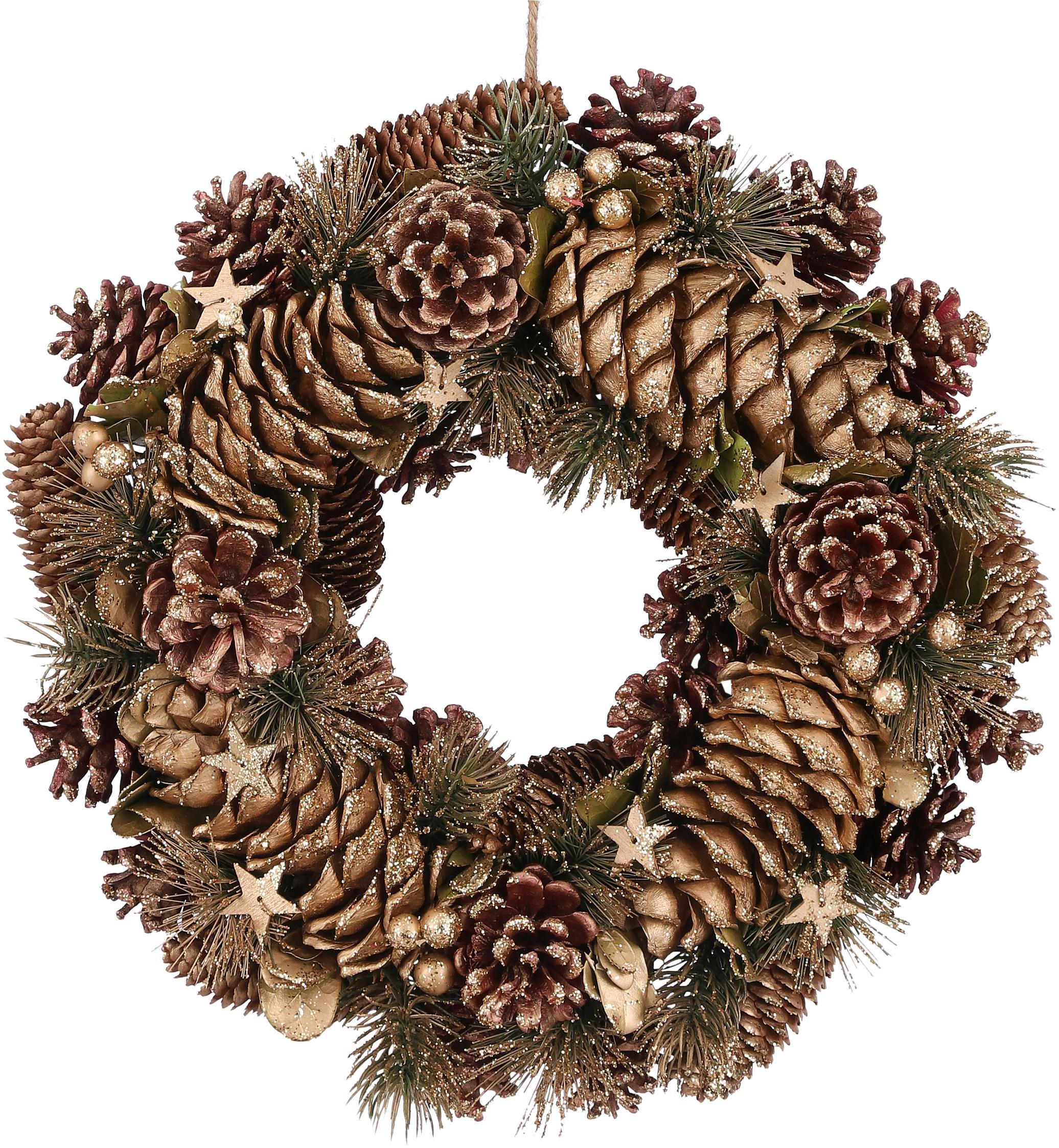 Weihnachtskranz Wera, Naturfaser, Braun, Goldfarben, Ø 35 cm