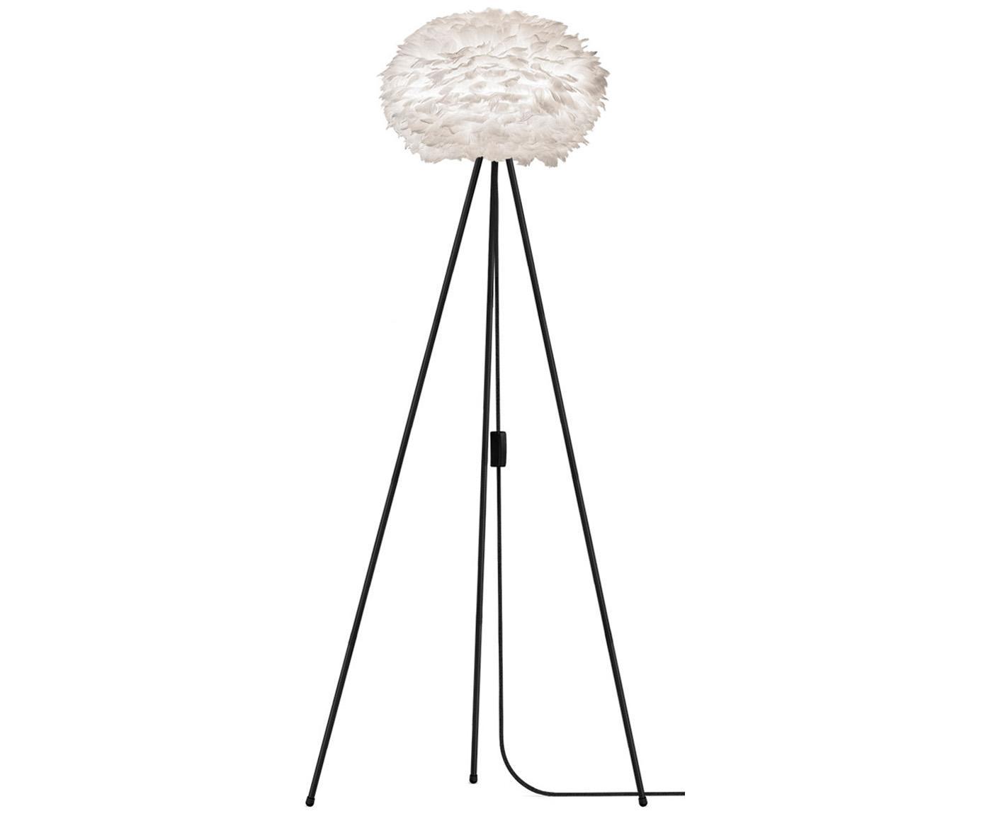 Vloerlamp Eos van veren, Lampenkap: ganzeveren, staal, Lampvoet: gepoedercoat aluminium, Wit, zwart, Ø 66 cm
