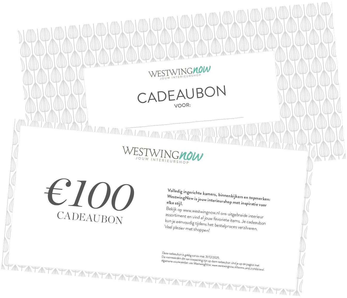 Cadeaubon, Cadeaubon op hoogwaardig papier, Wit, 100