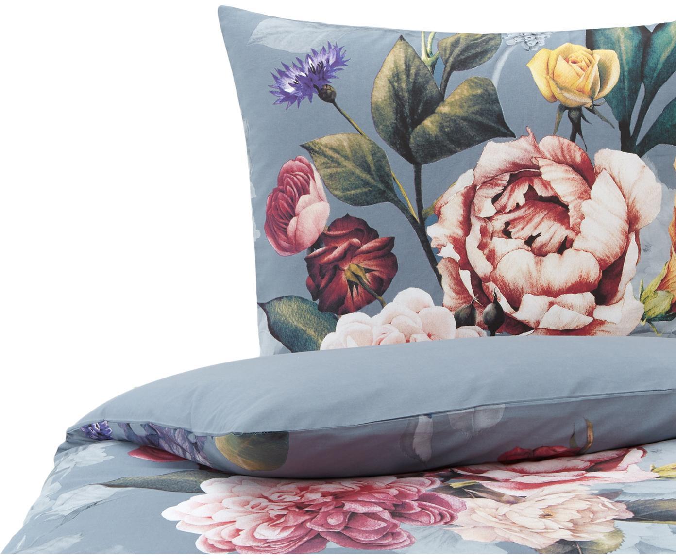 Bettwäsche Nysted mit Blumenprint, 100% Baumwolle Bettwäsche aus Baumwolle fühlt sich auf der Haut angenehm weich an, nimmt Feuchtigkeit gut auf und eignet sich für Allergiker., Grau, Mehrfarbig, 135 x 200 cm + 1 Kissen 80 x 80 cm