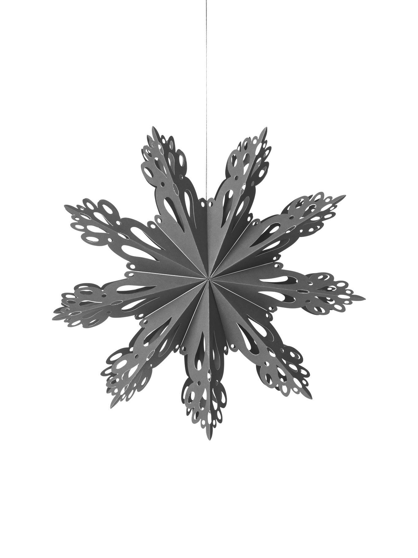 Ciondolo XL Snowflake, Carta, Grigio blu, Ø 30 cm