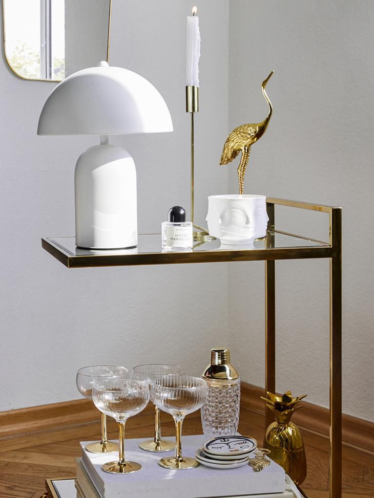 Retro-Tischlampe Walter, Lampenschirm: Metall, Mattweiss, Ø 25 x H 33 cm