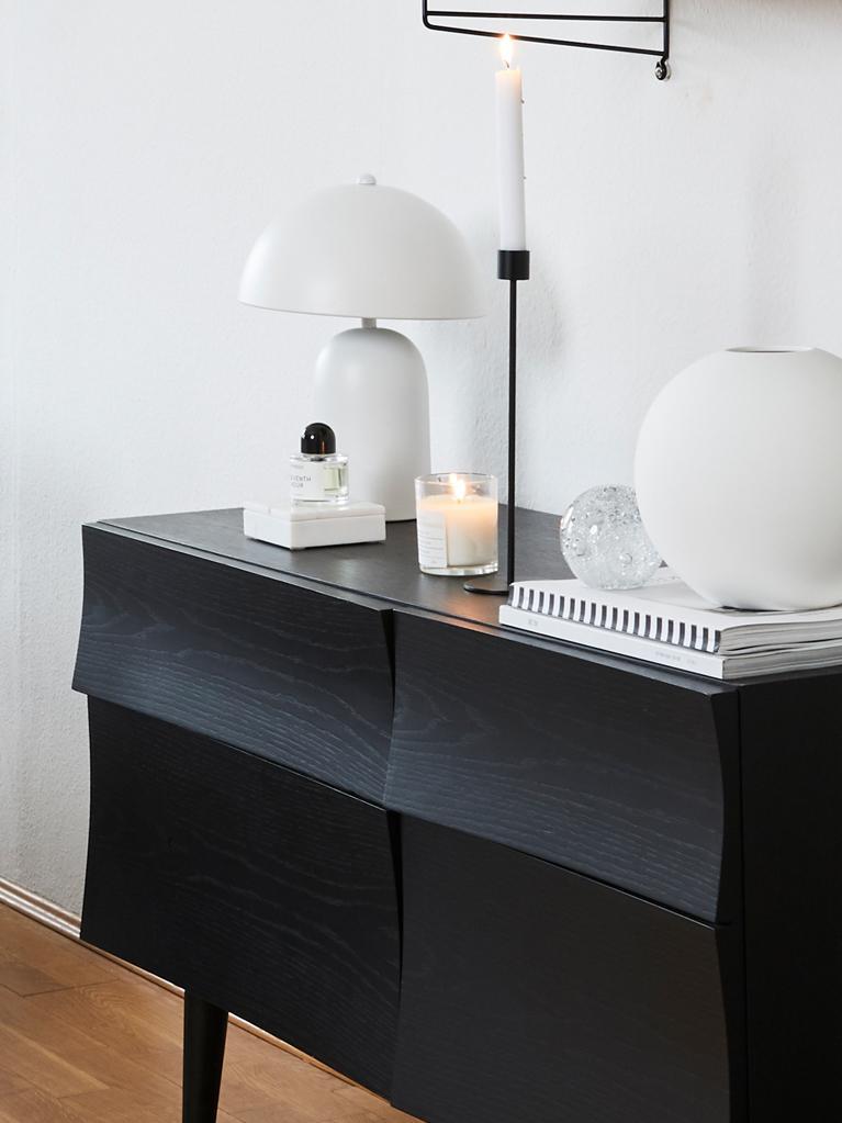 Lampada da tavolo retrò Walter, Paralume: metallo, Base della lampada: metallo, Bianco opaco, Ø 25 x Alt. 33 cm
