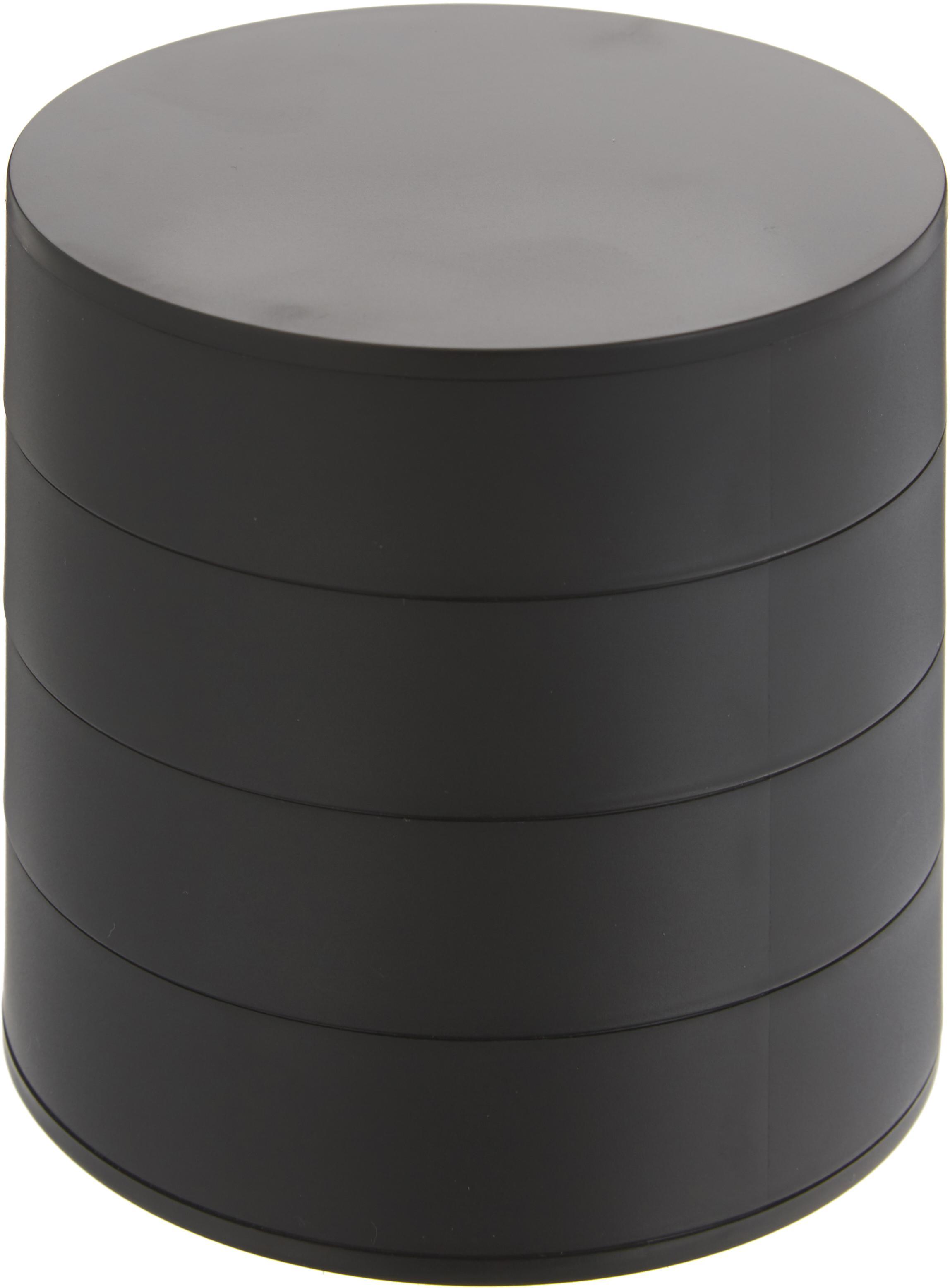 Joyero Tower, Interior: terciopelo de poliéster, Negro, Ø 10 x Al 10 cm