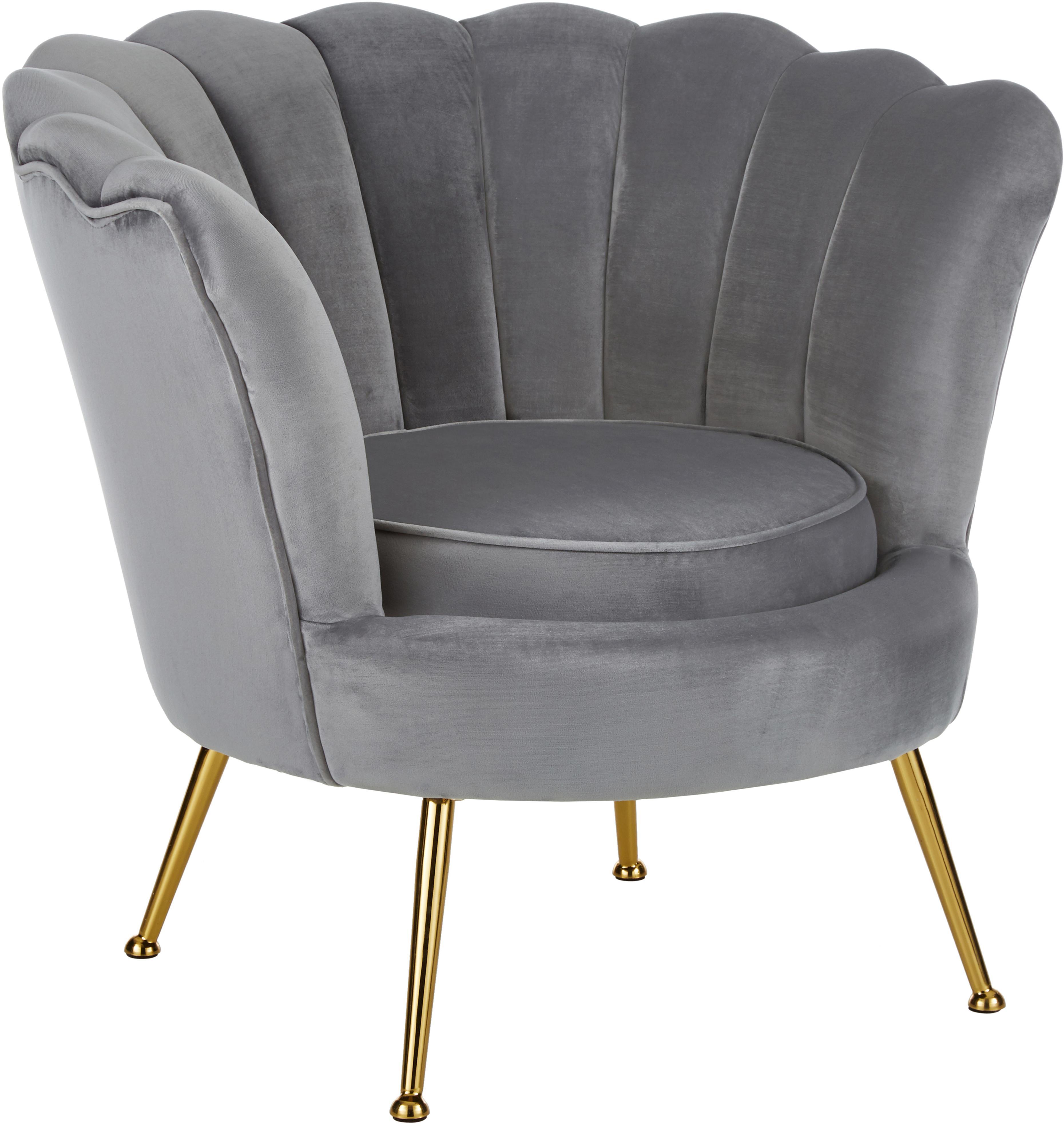 Fluwelen fauteuil Oyster, Bekleding: fluweel (polyester), Frame: massief populierenhout, m, Poten: gegalvaniseerd metaal, Grijs, B 81 x D 78 cm