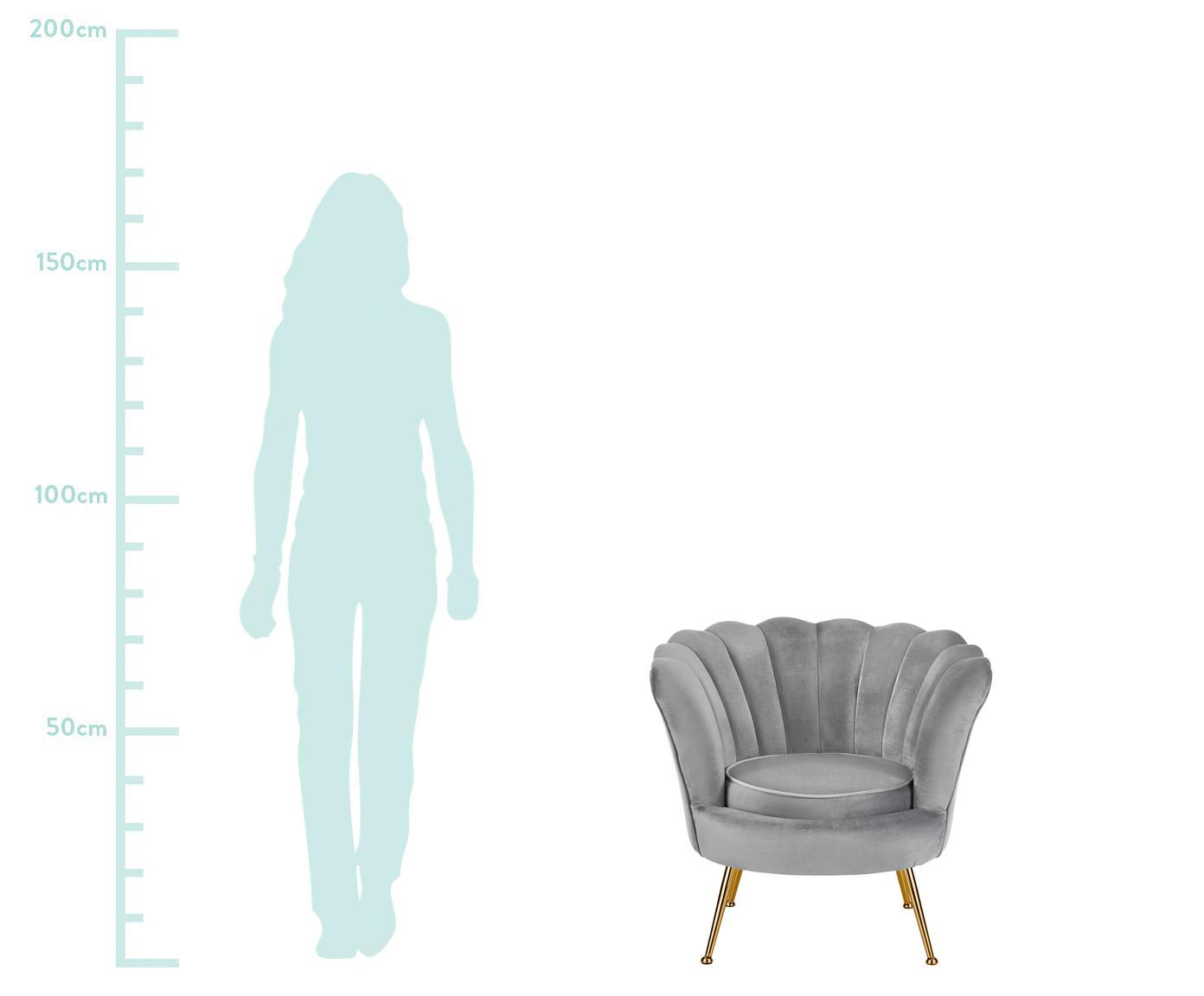 Fotel z aksamitu Oyster, Tapicerka: aksamit (poliester) 25 00, Stelaż: lite drewno topoli, sklej, Nogi: metal galwanizowany, Szary, S 81 x G 78 cm