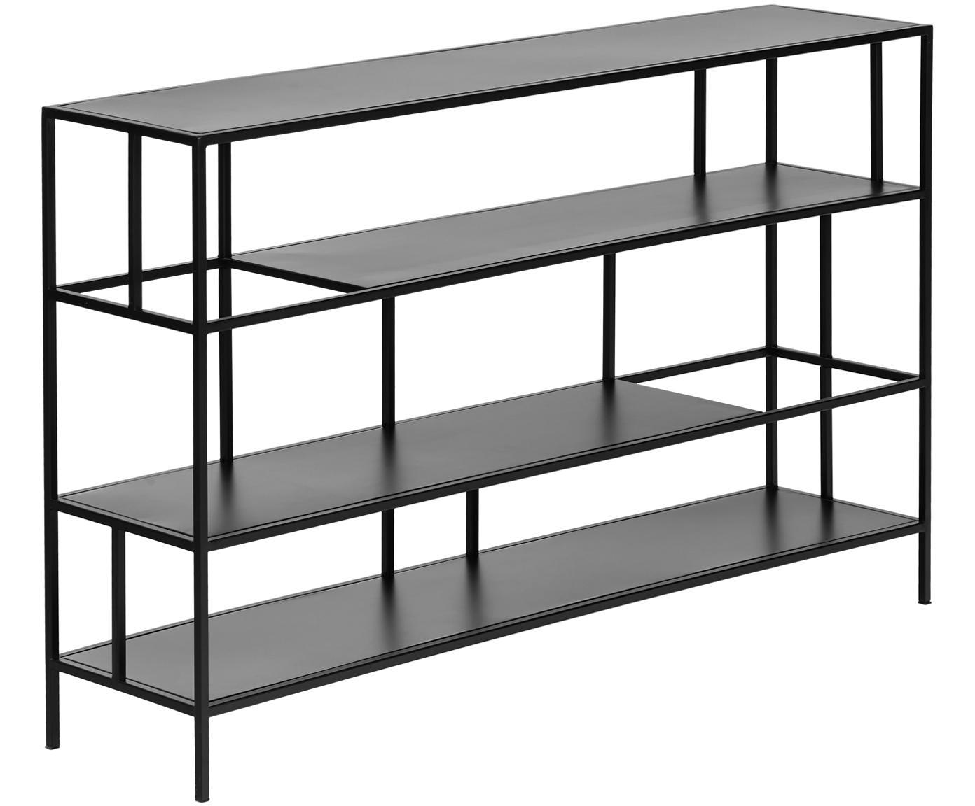 Metalen wandrek Sheldon in zwart, Gepoedercoat metaal, Mat zwart, 120 x 74 cm