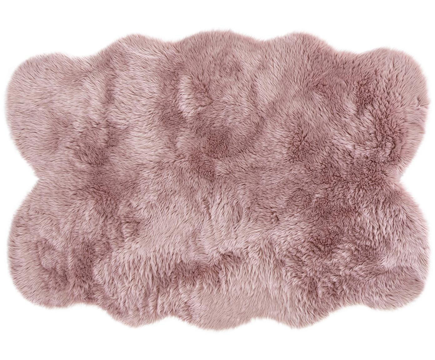 Imitatie schapenvacht Elmo, glad, Bovenzijde: 50% acryl, 50% polyester, Onderzijde: polyester, Roze, B 140 x L 200 cm (maat S)