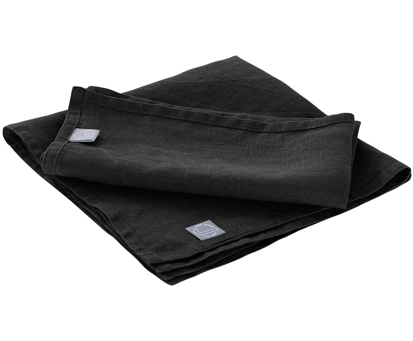 Servilletas de lino Hedda, 2uds., Lino, Negro, L 31 cm
