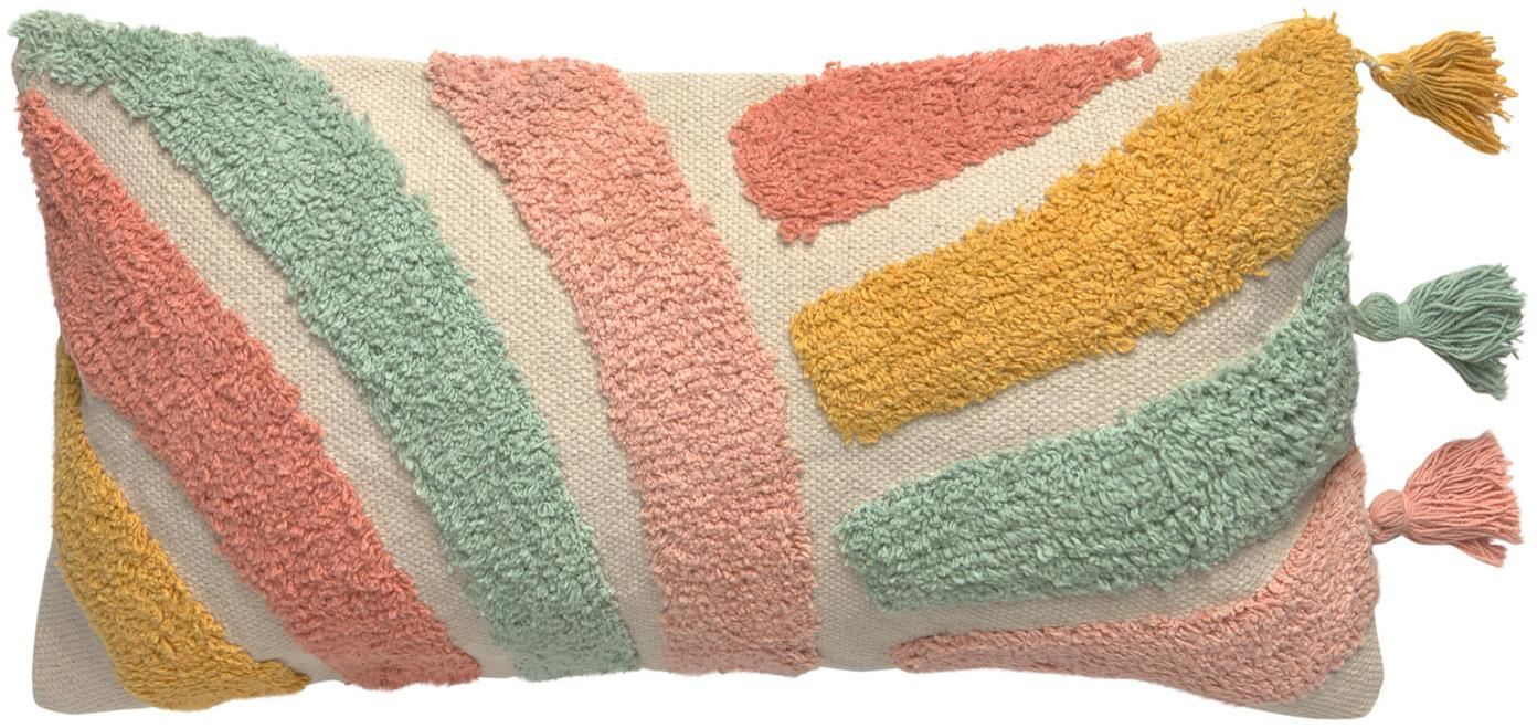 Funda de cojín con borlas Arco, 100%algodón, Beige, multicolor, An 30 x L 60 cm