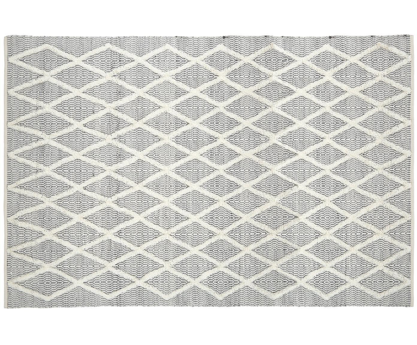 Handgetuft vloerkleed Lucas, Bovenzijde: 60% wol, 40% katoen, Onderzijde: 100% katoen, Grijs, B 200 x L 300 cm (maat L)
