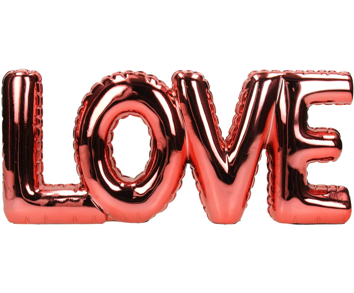 Dekoracja Love, Poliresing, Czerwony, błyszczący, S 32 x W 14 cm