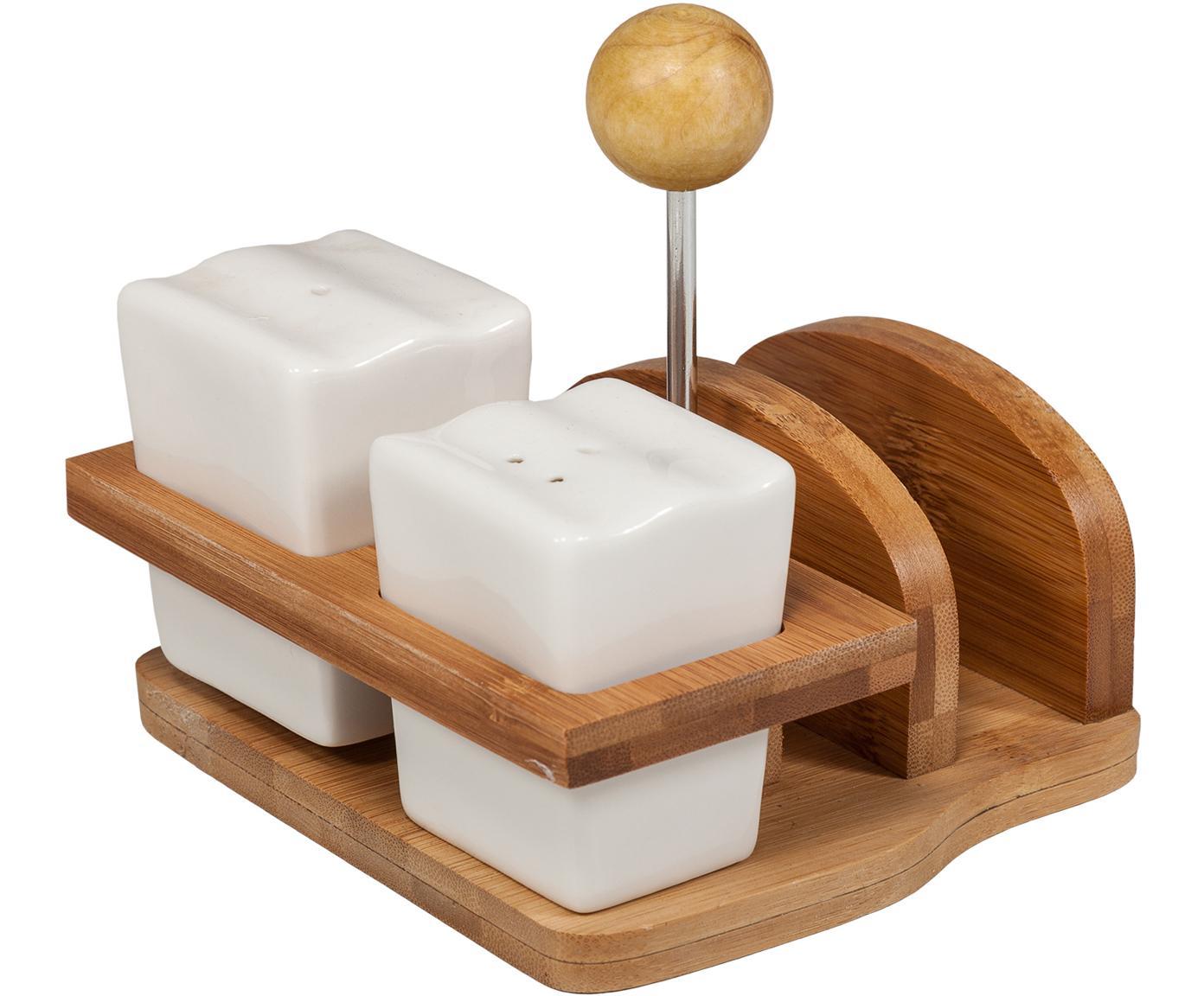 Set de salero y pimientero Honga, 3pzas., Estructura: bambú, Blanco, beige, Set de diferentes tamaños