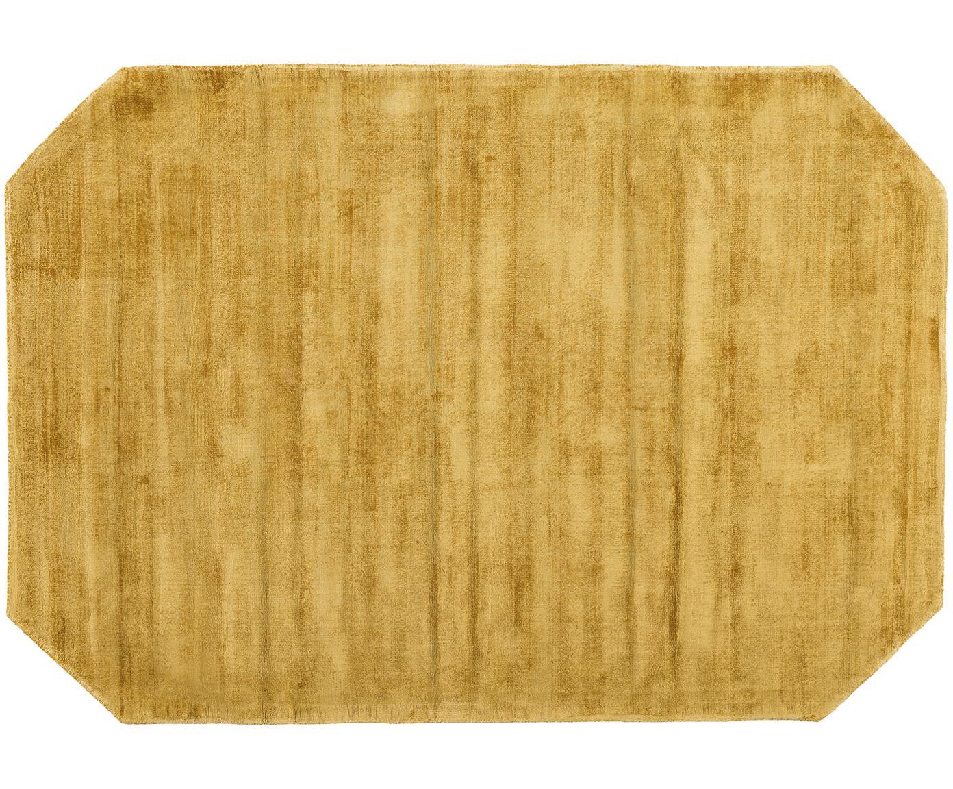 Viscose vloerkleed Jane Diamond, Bovenzijde: 100% viscose, Onderzijde: 100% katoen, Mosterdgeel, 160 x 230 cm