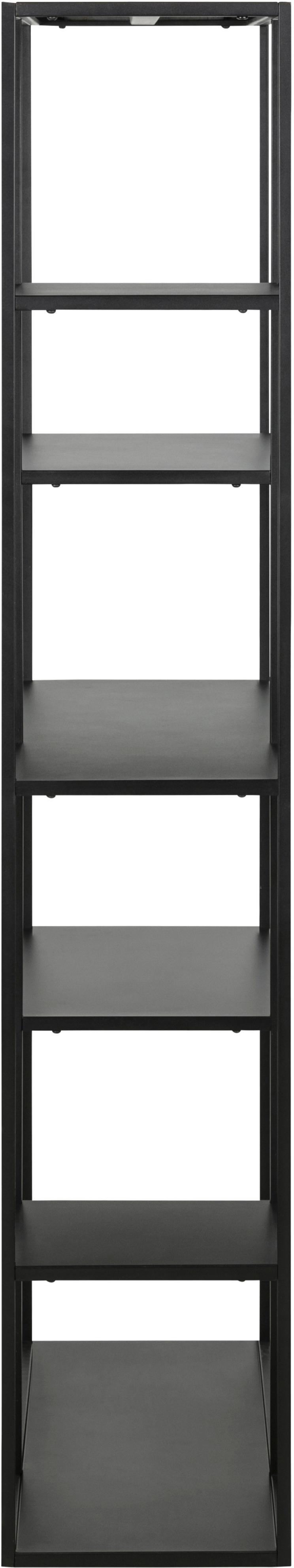 Metall-Regal Newton in Schwarz, Metall, pulverbeschichtet, Schwarz, 80 x 164 cm