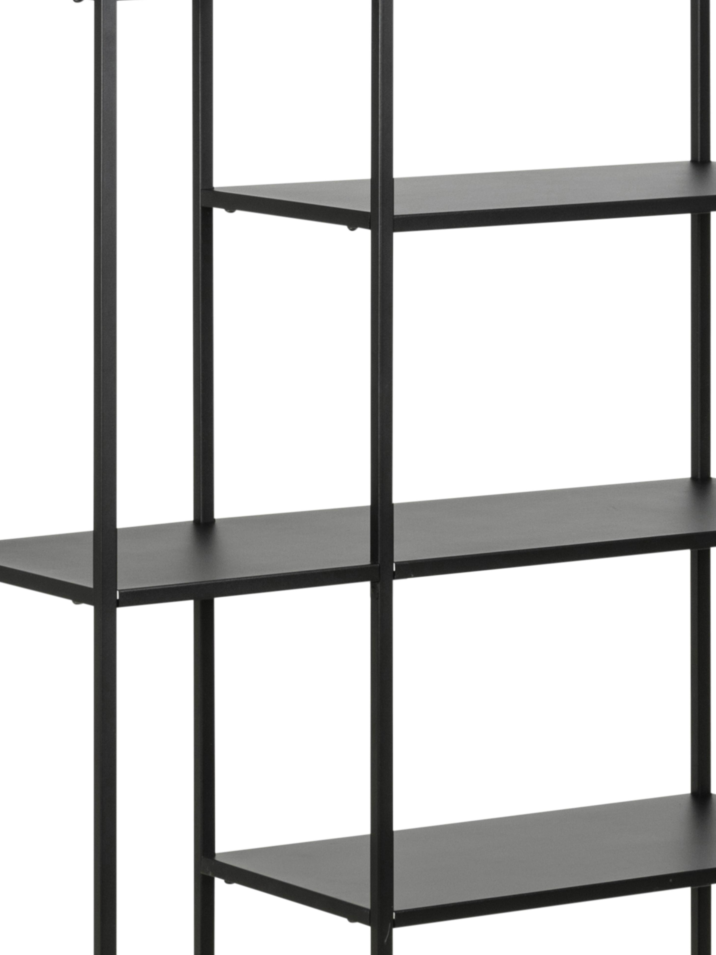 Estantería de metal Newton, Metal con pintura en polvo, Negro, An 80 x Al 164 cm