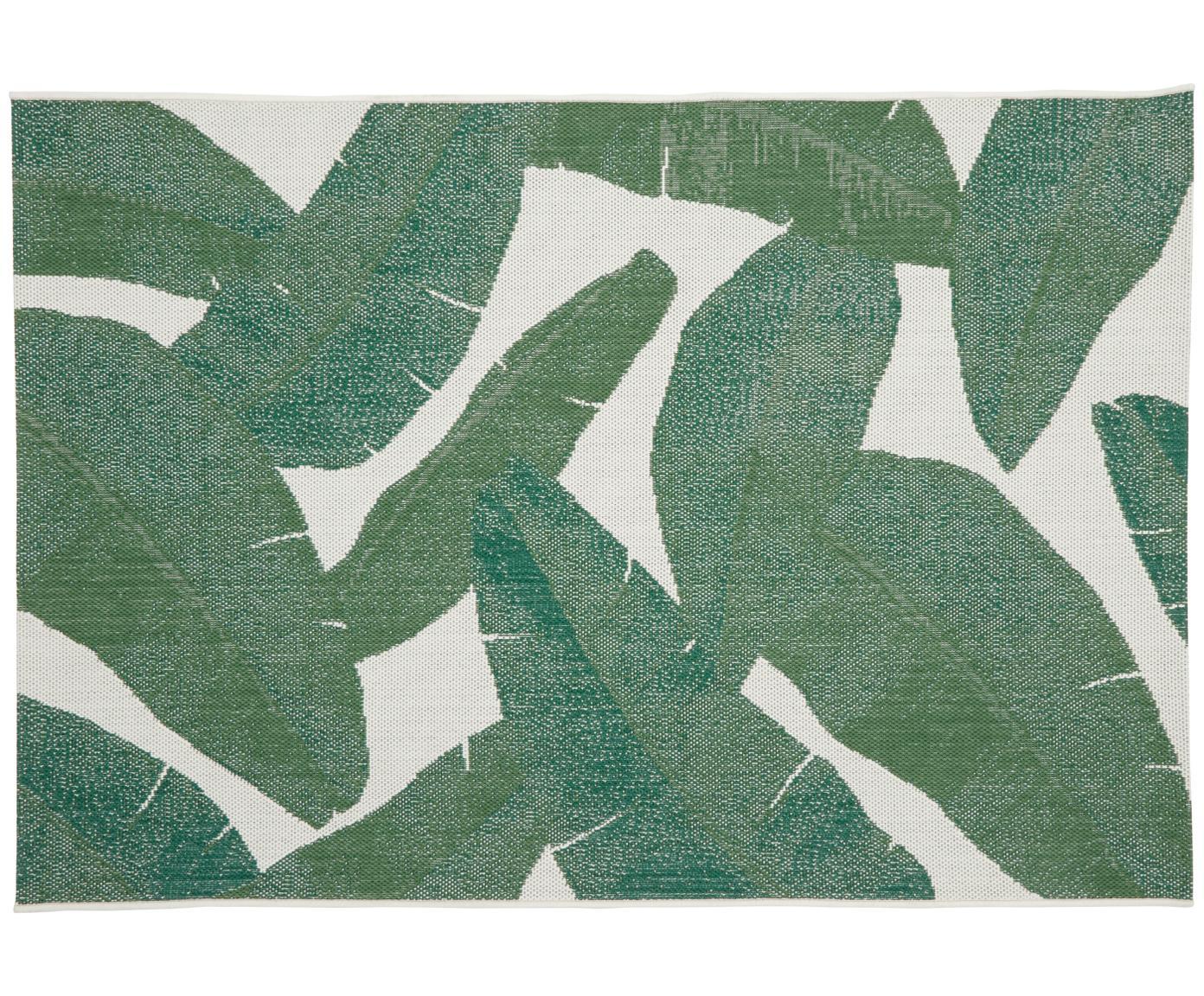 In- & Outdoor-Teppich Jungle mit Blattmuster, Flor: 100% Polypropylen, Cremeweiß, Grün, B 200 x L 290 cm (Größe L)