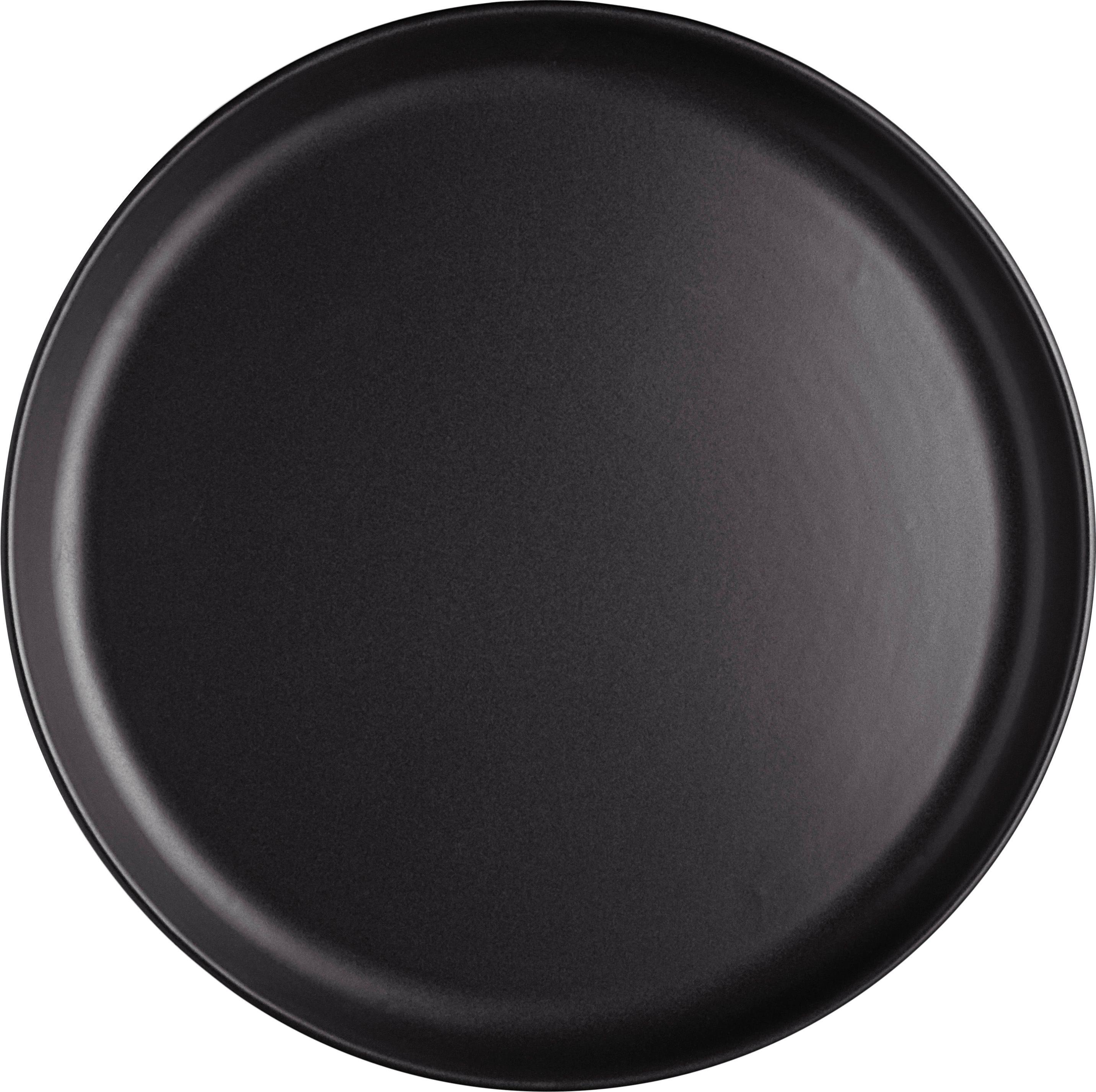 Talerz duży Nordic Kitchen, 4 szt., Kamionka, Czarny, matowy, Ø 25 cm