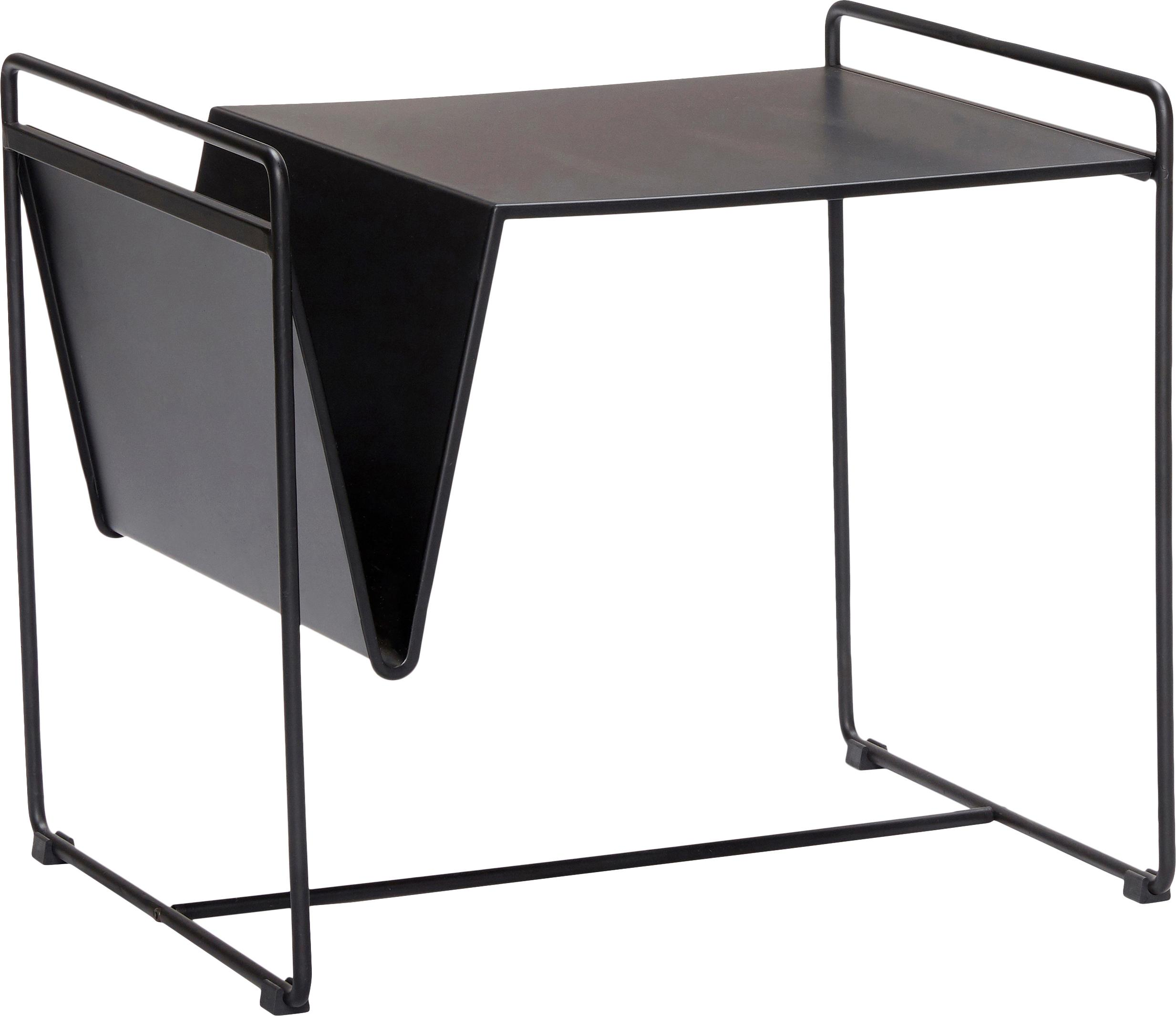 Stolik pomocniczy Nolla, Metal lakierowany, Czarny, S 54 x W 47 cm