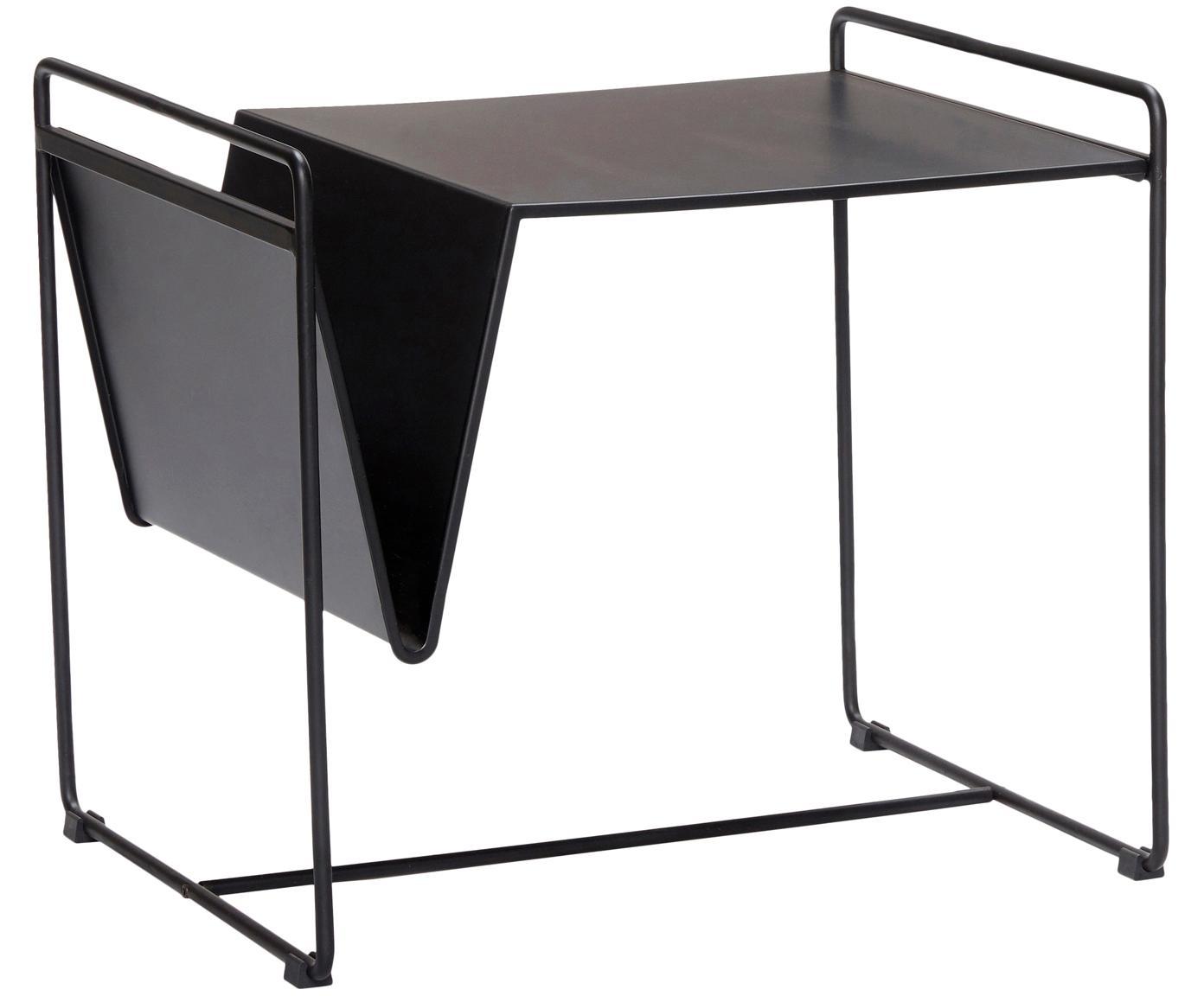 Tavolino con portariviste Nolla, Metallo verniciato, Nero, Larg. 54 x Alt. 47 cm
