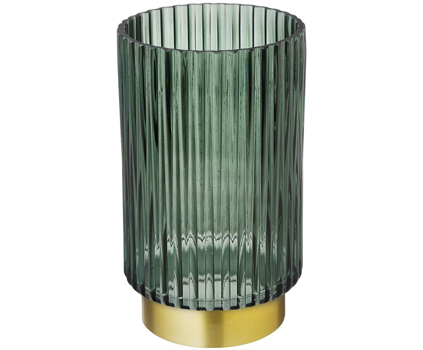 Vaas Lene, Vaas: glas, Voetstuk: geborsteld metaal, Vaas: groen, transparant. Voetstuk: mat goudkleurig, Ø 12 x H 20 cm