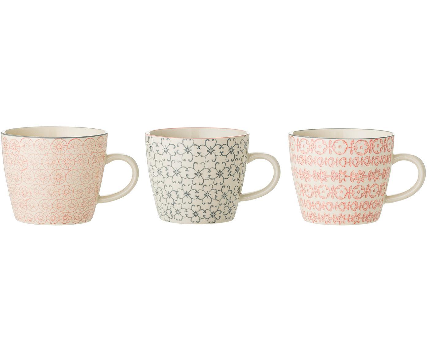 Tassen Cécile mit unterschiedlichen Mustern, 3er-Set, Steingut, Mehrfarbig, Ø 10 x H 8 cm