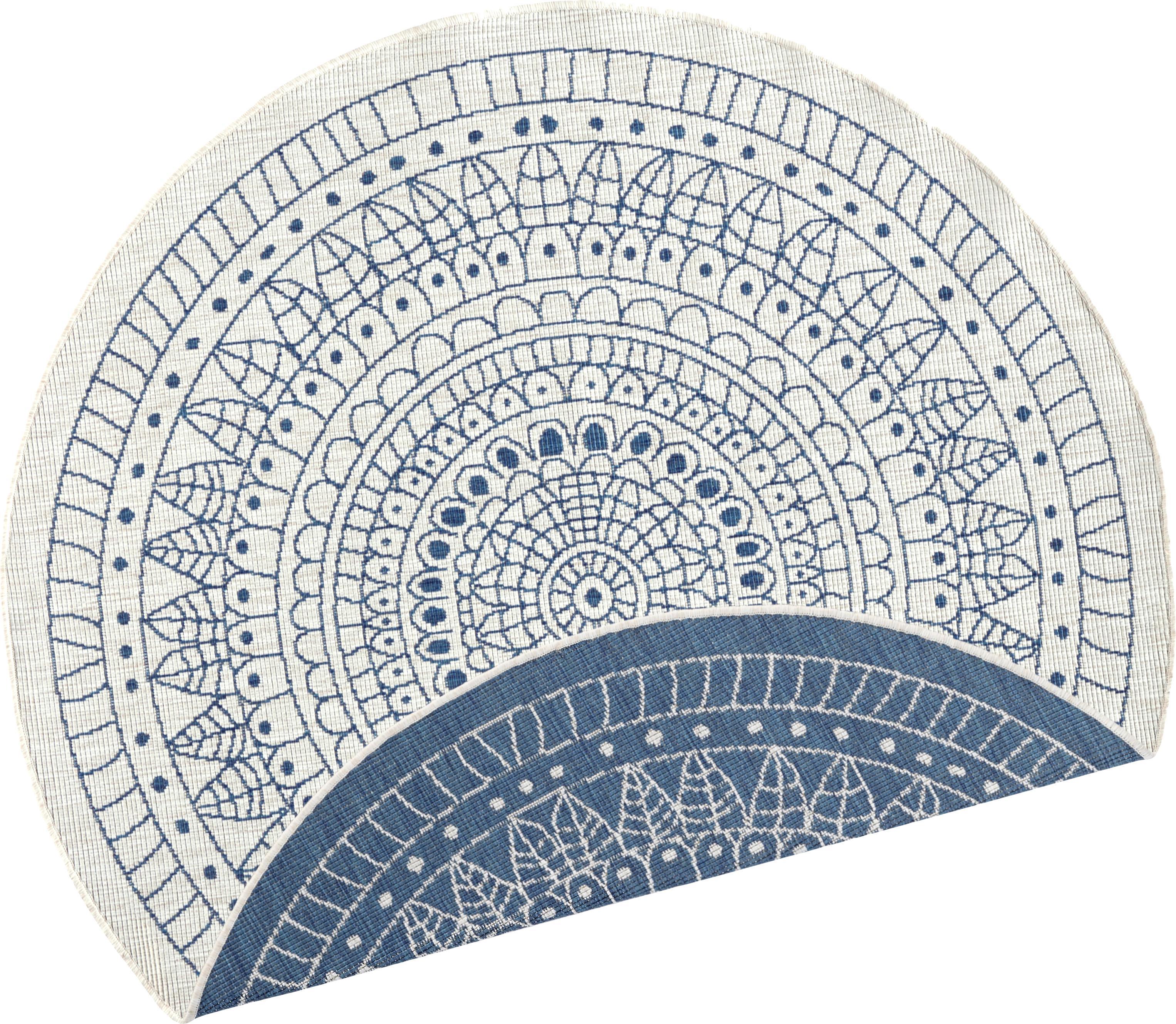 Rond dubbelzijdig in- en outdoor vloerkleed Porto, met patroon, Blauw, crèmekleurig, Ø 140 cm (maat M)