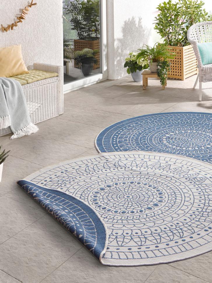 Tappeto reversibile da interno-esterno Porto, Blu, color crema, Ø 140 cm (taglia M)
