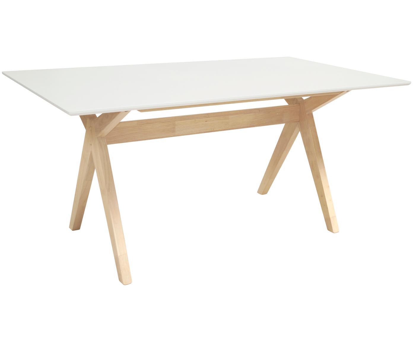 Tavolo da pranzo Scissor, Piano d'appoggio: pannello di fibra a media, Gambe: caucciù verniciato, Bianco, caucciù, Larg. 160 x Prof. 90 cm